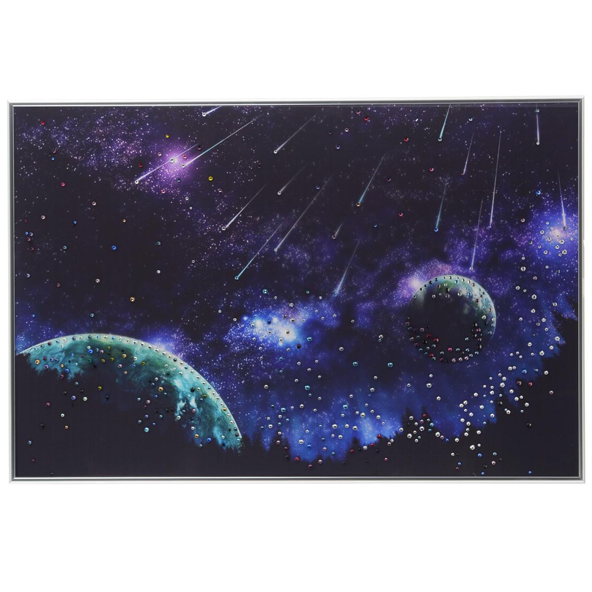 Картина с кристаллами Swarovski Звездопад, 60 см х 40 см1106Изящная картина в металлической раме, инкрустирована кристаллами Swarovski, которые отличаются четкой и ровной огранкой, ярким блеском и чистотой цвета. Красочное изображение звездопада, расположенное на внутренней стороне стекла, прекрасно дополняет блеск кристаллов. С обратной стороны имеется металлическая петелька для размещения картины на стене. Картина с кристаллами Swarovski Звездопад элегантно украсит интерьер дома или офиса, а также станет прекрасным подарком, который обязательно понравится получателю. Блеск кристаллов в интерьере, что может быть сказочнее и удивительнее. Картина упакована в подарочную картонную коробку синего цвета и комплектуется сертификатом соответствия Swarovski.