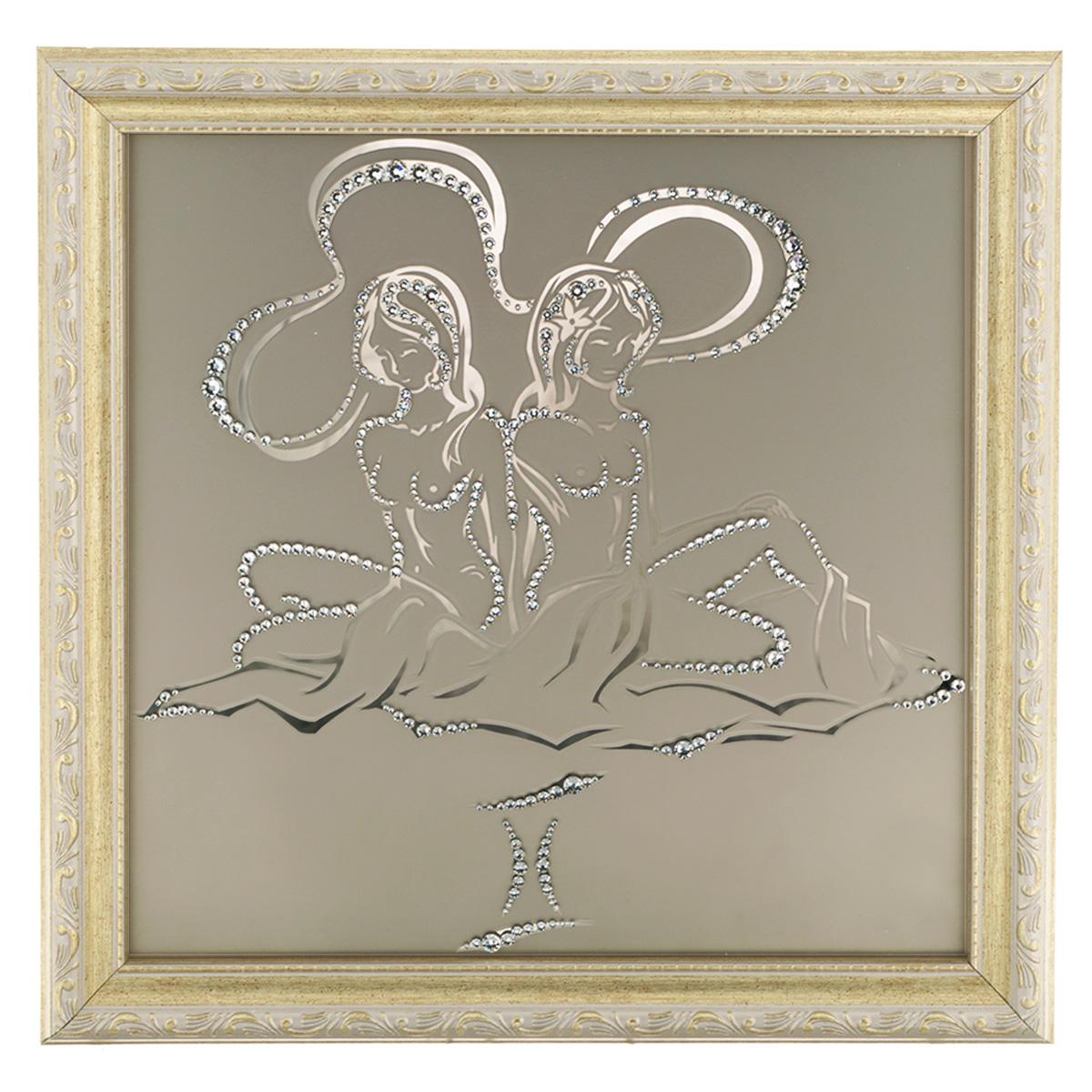Картина с кристаллами Swarovski Знак зодиака. Близнецы, 35 см х 35 см1128Изящная картина в багетной раме, инкрустирована кристаллами Swarovski в виде знака зодиака - Близнецы на матовом стекле золотистого цвета. Кристаллы Swarovski отличаются четкой и ровной огранкой, ярким блеском и чистотой цвета. С обратной стороны имеется металлическая проволока для размещения картины на стене. Картина с кристаллами Swarovski Знак зодиака. Близнецы элегантно украсит интерьер дома или офиса, а также станет прекрасным подарком, который обязательно понравится получателю. Блеск кристаллов в интерьере, что может быть сказочнее и удивительнее. Картина упакована в подарочную картонную коробку синего цвета и комплектуется сертификатом соответствия Swarovski.