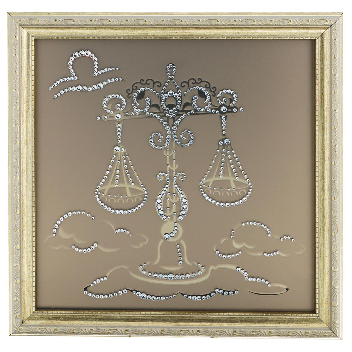 Картина с кристаллами Swarovski Знак зодиака. Весы, 35 х 35 см1129Изящная картина в багетной раме, инкрустирована кристаллами Swarovski в виде знака зодиака - Весы на матовом стекле золотистого цвета. Кристаллы Swarovski отличаются четкой и ровной огранкой, ярким блеском и чистотой цвета. С обратной стороны имеется металлическая проволока для размещения картины на стене. Картина с кристаллами Swarovski Знак зодиака. Весы элегантно украсит интерьер дома или офиса, а также станет прекрасным подарком, который обязательно понравится получателю. Блеск кристаллов в интерьере, что может быть сказочнее и удивительнее. Картина упакована в подарочную картонную коробку синего цвета и комплектуется сертификатом соответствия Swarovski.