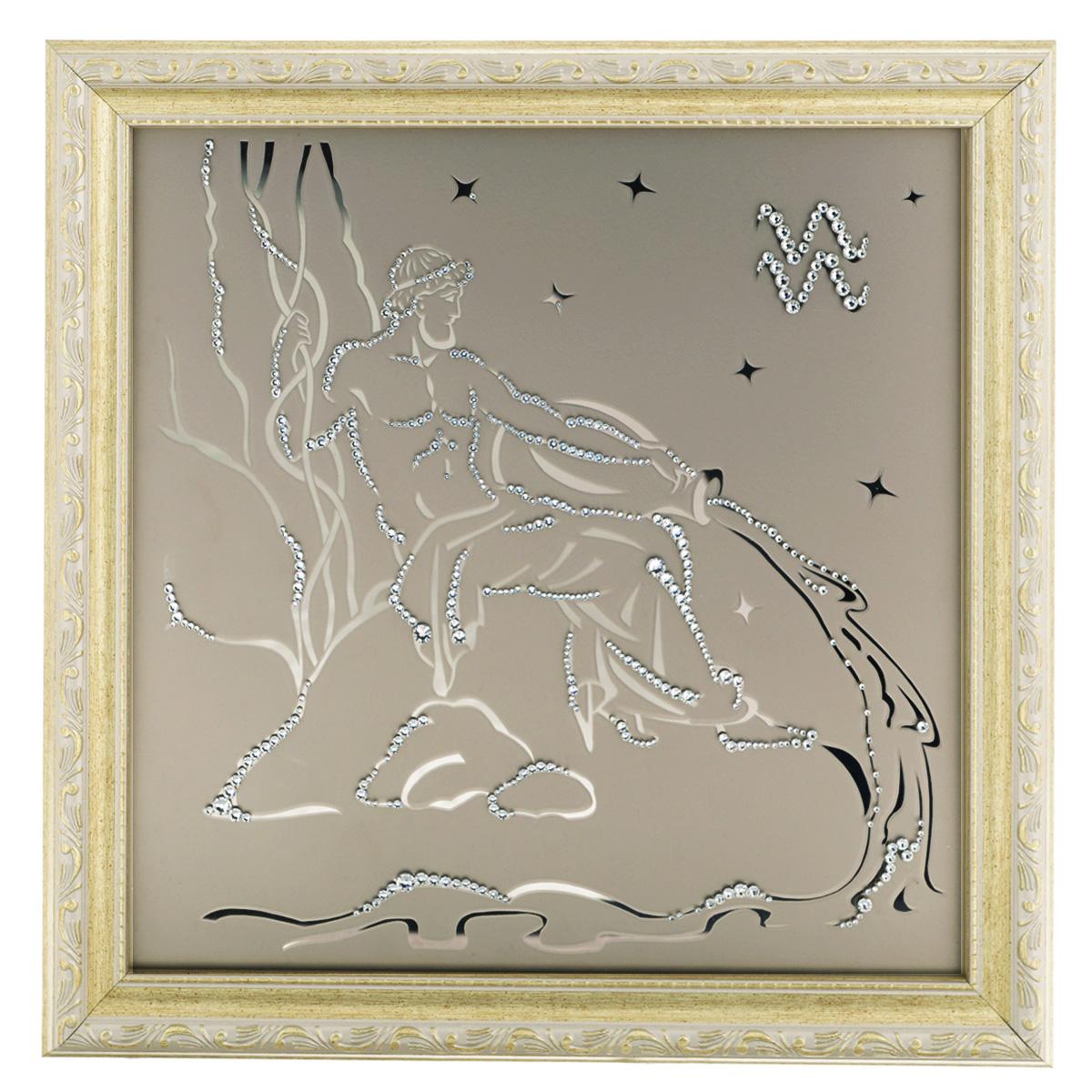 Картина с кристаллами Swarovski Знак зодиака. Водолей, 35 см х 35 см1130Изящная картина в багетной раме, инкрустирована кристаллами Swarovski в виде знака зодиака - Водолей на матовом стекле золотистого цвета. Кристаллы Swarovski отличаются четкой и ровной огранкой, ярким блеском и чистотой цвета. С обратной стороны имеется металлическая проволока для размещения картины на стене. Картина с кристаллами Swarovski Знак зодиака. Водолей элегантно украсит интерьер дома или офиса, а также станет прекрасным подарком, который обязательно понравится получателю. Блеск кристаллов в интерьере, что может быть сказочнее и удивительнее. Картина упакована в подарочную картонную коробку синего цвета и комплектуется сертификатом соответствия Swarovski.