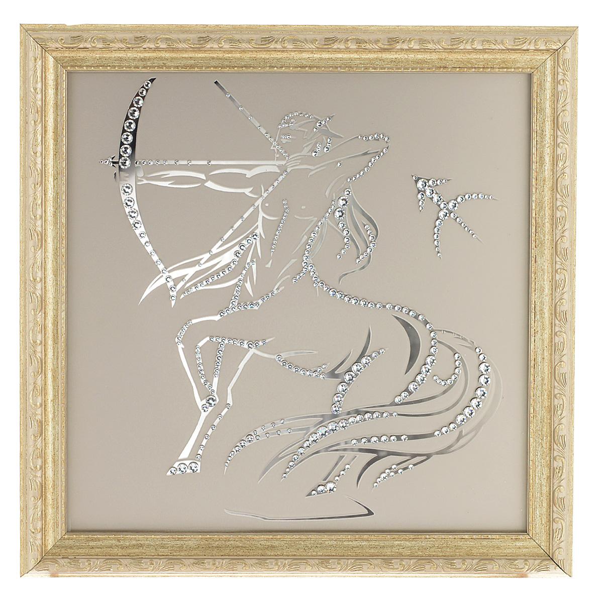 Картина с кристаллами Swarovski Знак зодиака. Стрелец, 35 х 35 см1135Изящная картина в багетной раме Знак зодиака. Стрелец инкрустирована кристаллами Swarovski, которые отличаются четкой и ровной огранкой, ярким блеском и чистотой цвета. Идеально подобранная палитра кристаллов прекрасно дополняет картину. С задней стороны изделие оснащено проволокой для размещения на стене. Картина с кристаллами Swarovski элегантно украсит интерьер дома, а также станет прекрасным подарком, который обязательно понравится получателю. Блеск кристаллов в интерьере - что может быть сказочнее и удивительнее. Изделие упаковано в подарочную картонную коробку синего цвета и комплектуется сертификатом соответствия Swarovski.