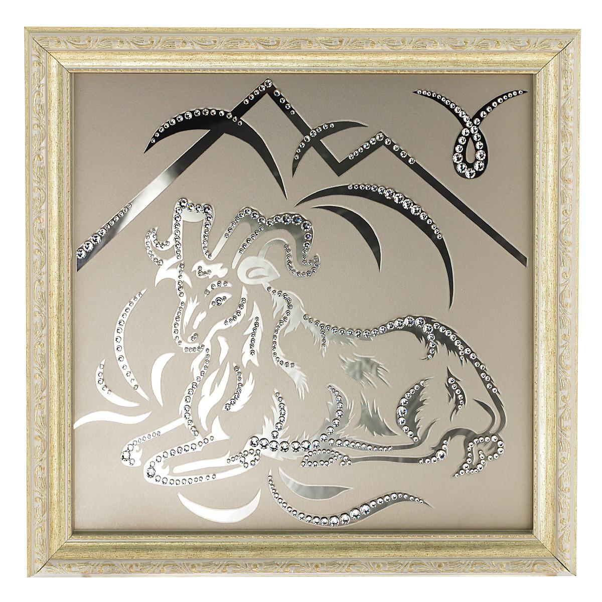 Картина с кристаллами Swarovski Знак зодиака. Овен, 35 см х 35 см1138Изящная картина в багетной раме Знак зодиака. Овен инкрустирована кристаллами Swarovski, которые отличаются четкой и ровной огранкой, ярким блеском и чистотой цвета. Идеально подобранная палитра кристаллов прекрасно дополняет картину. С задней стороны изделие оснащено проволокой для размещения на стене. Картина с кристаллами Swarovski элегантно украсит интерьер дома, а также станет прекрасным подарком, который обязательно понравится получателю. Блеск кристаллов в интерьере - что может быть сказочнее и удивительнее. Изделие упаковано в подарочную картонную коробку синего цвета и комплектуется сертификатом соответствия Swarovski.