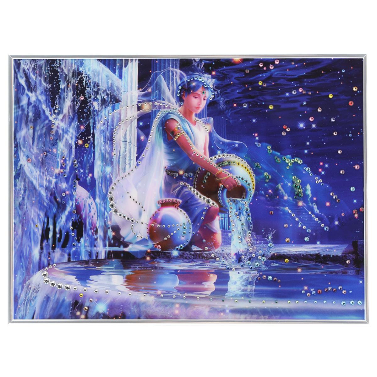 Картина с кристаллами Swarovski Знак зодиака. Водолей Кагая, 40 см х 30 см1141Изящная картина в металлической раме, инкрустирована кристаллами Swarovski, которые отличаются четкой и ровной огранкой, ярким блеском и чистотой цвета. Красочное изображение знака зодиака - водолей Кагая, расположенное под стеклом, прекрасно дополняет блеск кристаллов. С обратной стороны имеется металлическая петелька для размещения картины на стене. Картина с кристаллами Swarovski Знак зодиака. Водолей Кагая элегантно украсит интерьер дома или офиса, а также станет прекрасным подарком, который обязательно понравится получателю. Блеск кристаллов в интерьере, что может быть сказочнее и удивительнее. Картина упакована в подарочную картонную коробку синего цвета и комплектуется сертификатом соответствия Swarovski.