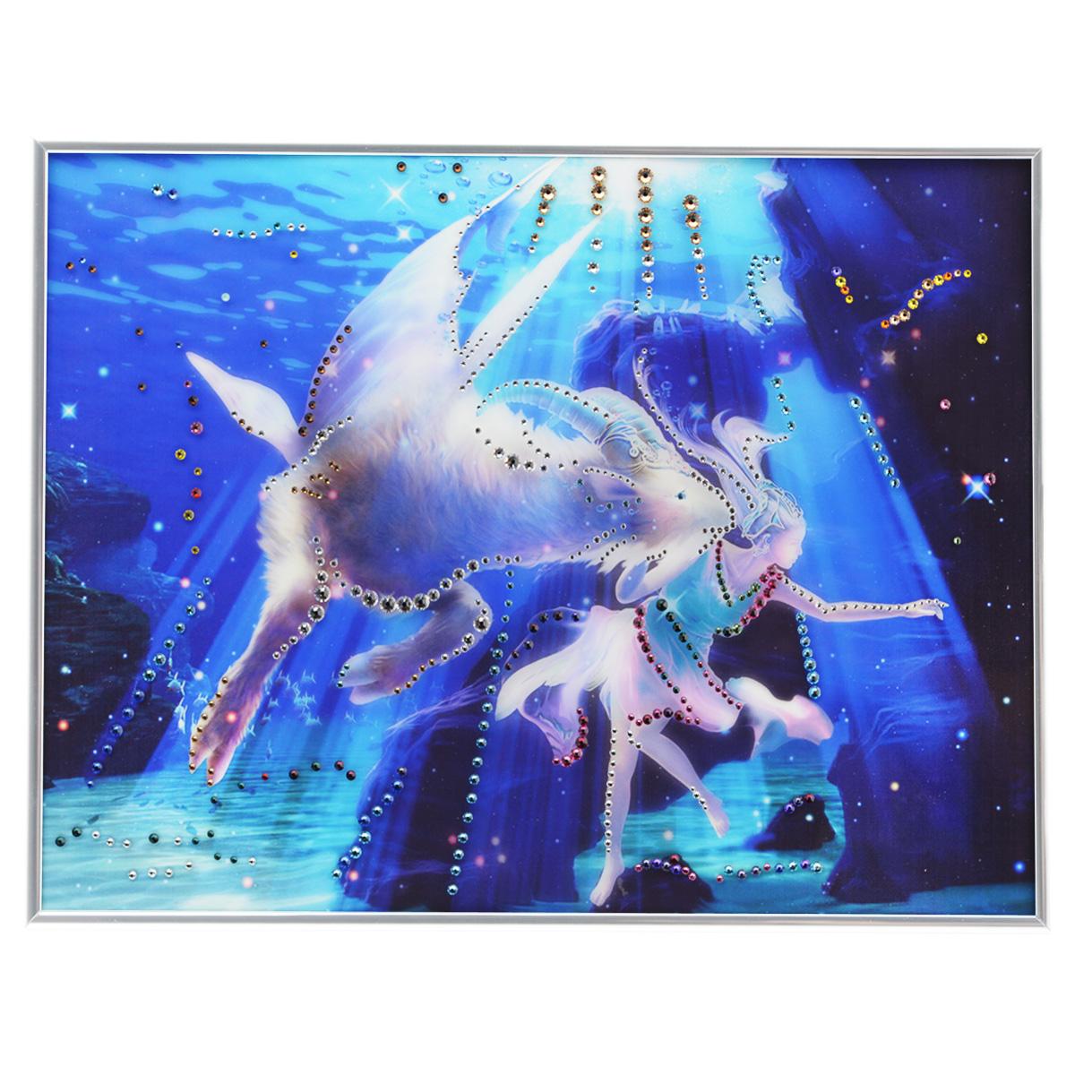 Картина с кристаллами Swarovski Знак зодиака. Козерог Кагая, 40 см х 30 см1143Изящная картина в металлической раме, инкрустирована кристаллами Swarovski, которые отличаются четкой и ровной огранкой, ярким блеском и чистотой цвета. Красочное изображение знака зодиака - козерог Кагая, расположенное под стеклом, прекрасно дополняет блеск кристаллов. С обратной стороны имеется металлическая петелька для размещения картины на стене. Картина с кристаллами Swarovski Знак зодиака. Козерог Кагая элегантно украсит интерьер дома или офиса, а также станет прекрасным подарком, который обязательно понравится получателю. Блеск кристаллов в интерьере, что может быть сказочнее и удивительнее. Картина упакована в подарочную картонную коробку синего цвета и комплектуется сертификатом соответствия Swarovski.