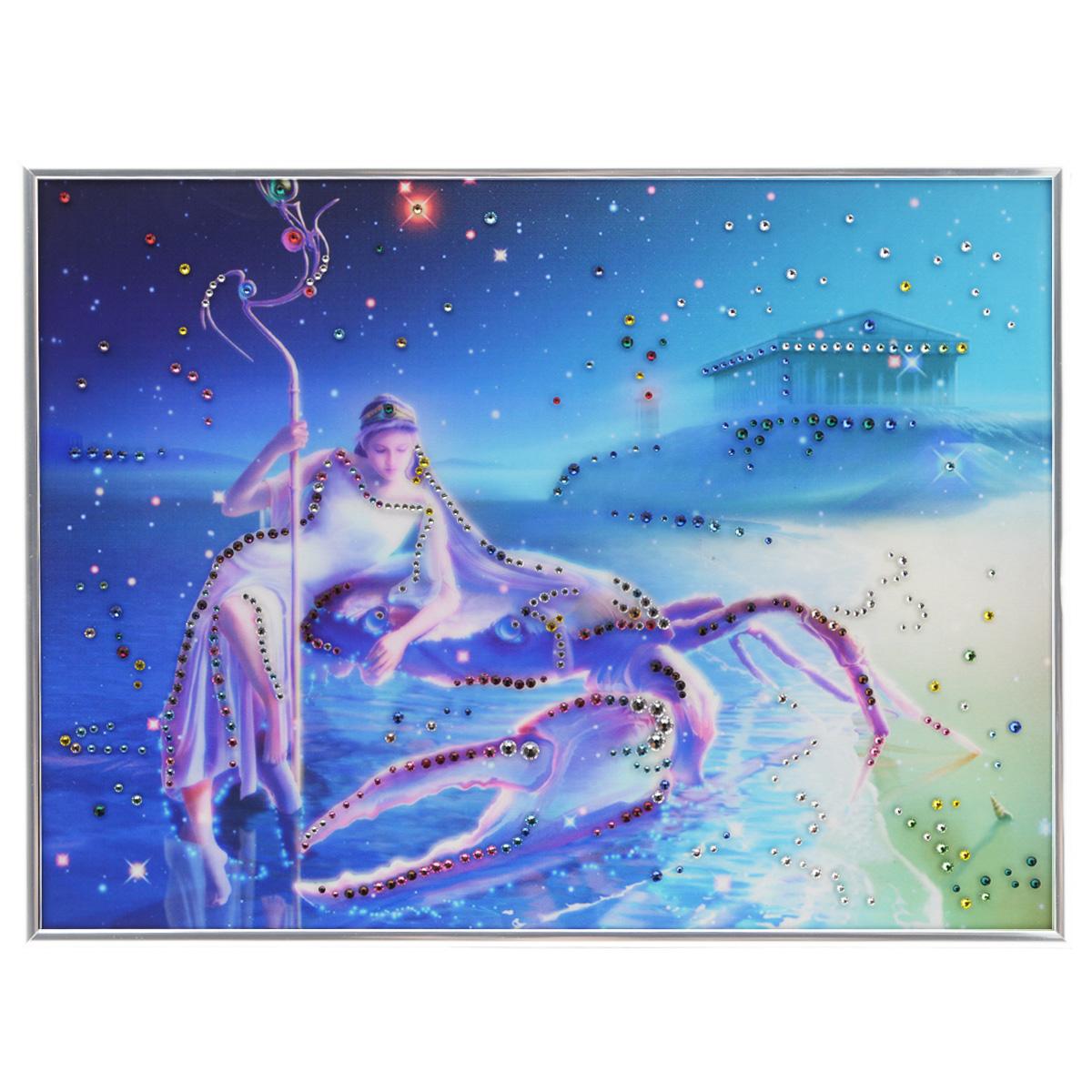 Картина с кристаллами Swarovski Знак зодиака. Рак Кагая, 40 х 30 см1146Изящная картина в металлической раме, инкрустирована кристаллами Swarovski, которые отличаются четкой и ровной огранкой, ярким блеском и чистотой цвета. Красочное изображение знака зодиака - рак Кагая, расположенное под стеклом, прекрасно дополняет блеск кристаллов. С обратной стороны имеется металлическая петелька для размещения картины на стене. Картина с кристаллами Swarovski Знак зодиака. Рак Кагая элегантно украсит интерьер дома или офиса, а также станет прекрасным подарком, который обязательно понравится получателю. Блеск кристаллов в интерьере, что может быть сказочнее и удивительнее. Картина упакована в подарочную картонную коробку синего цвета и комплектуется сертификатом соответствия Swarovski.