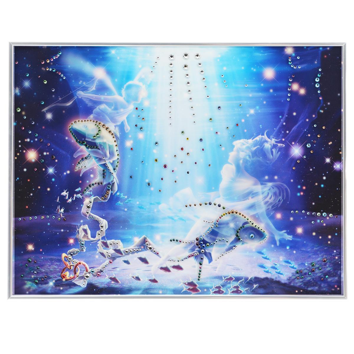 Картина с кристаллами Swarovski Знак зодиака. Рыбы Кагая, 40 см х 30 см1147Изящная картина в металлической раме, инкрустирована кристаллами Swarovski, которые отличаются четкой и ровной огранкой, ярким блеском и чистотой цвета. Красочное изображение знака зодиака - рыбы Кагая, расположенное под стеклом, прекрасно дополняет блеск кристаллов. С обратной стороны имеется металлическая петелька для размещения картины на стене. Картина с кристаллами Swarovski Знак зодиака. Рыбы Кагая элегантно украсит интерьер дома или офиса, а также станет прекрасным подарком, который обязательно понравится получателю. Блеск кристаллов в интерьере, что может быть сказочнее и удивительнее. Картина упакована в подарочную картонную коробку синего цвета и комплектуется сертификатом соответствия Swarovski.