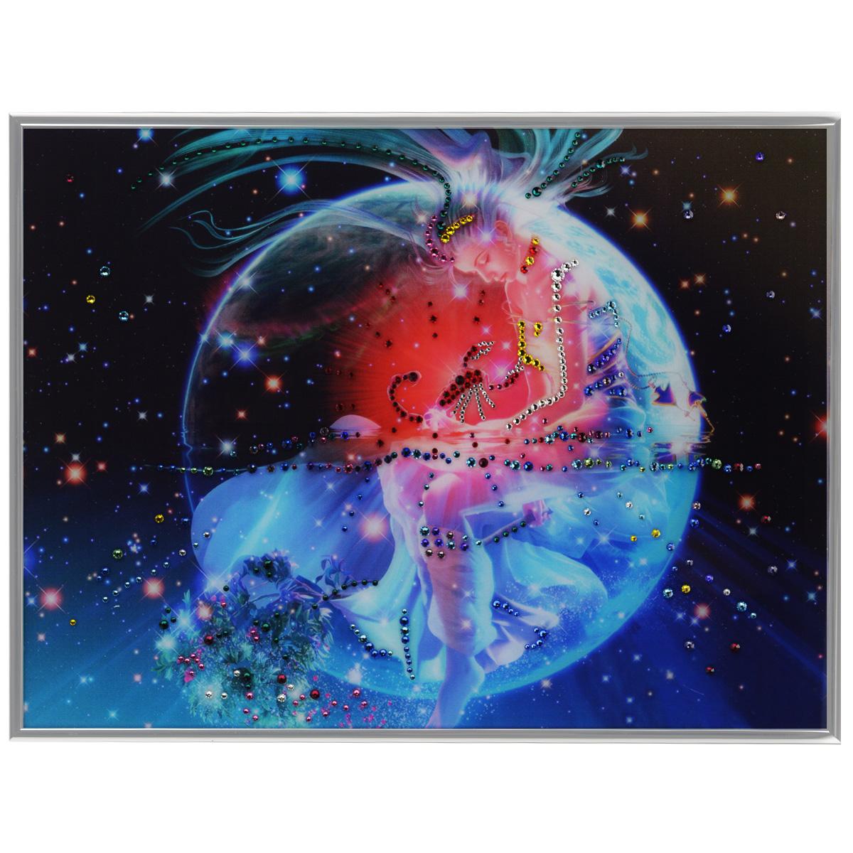 Картина с кристаллами Swarovski Знак зодиака. Скорпион Кагая, 40 х 30 см1148Изящная картина в металлической раме, инкрустирована кристаллами Swarovski, которые отличаются четкой и ровной огранкой, ярким блеском и чистотой цвета. Красочное изображение знака зодиака - скорпион Кагая, расположенное под стеклом, прекрасно дополняет блеск кристаллов. С обратной стороны имеется металлическая петелька для размещения картины на стене. Картина с кристаллами Swarovski Знак зодиака. Скорпион Кагая элегантно украсит интерьер дома или офиса, а также станет прекрасным подарком, который обязательно понравится получателю. Блеск кристаллов в интерьере, что может быть сказочнее и удивительнее. Картина упакована в подарочную картонную коробку синего цвета и комплектуется сертификатом соответствия Swarovski.
