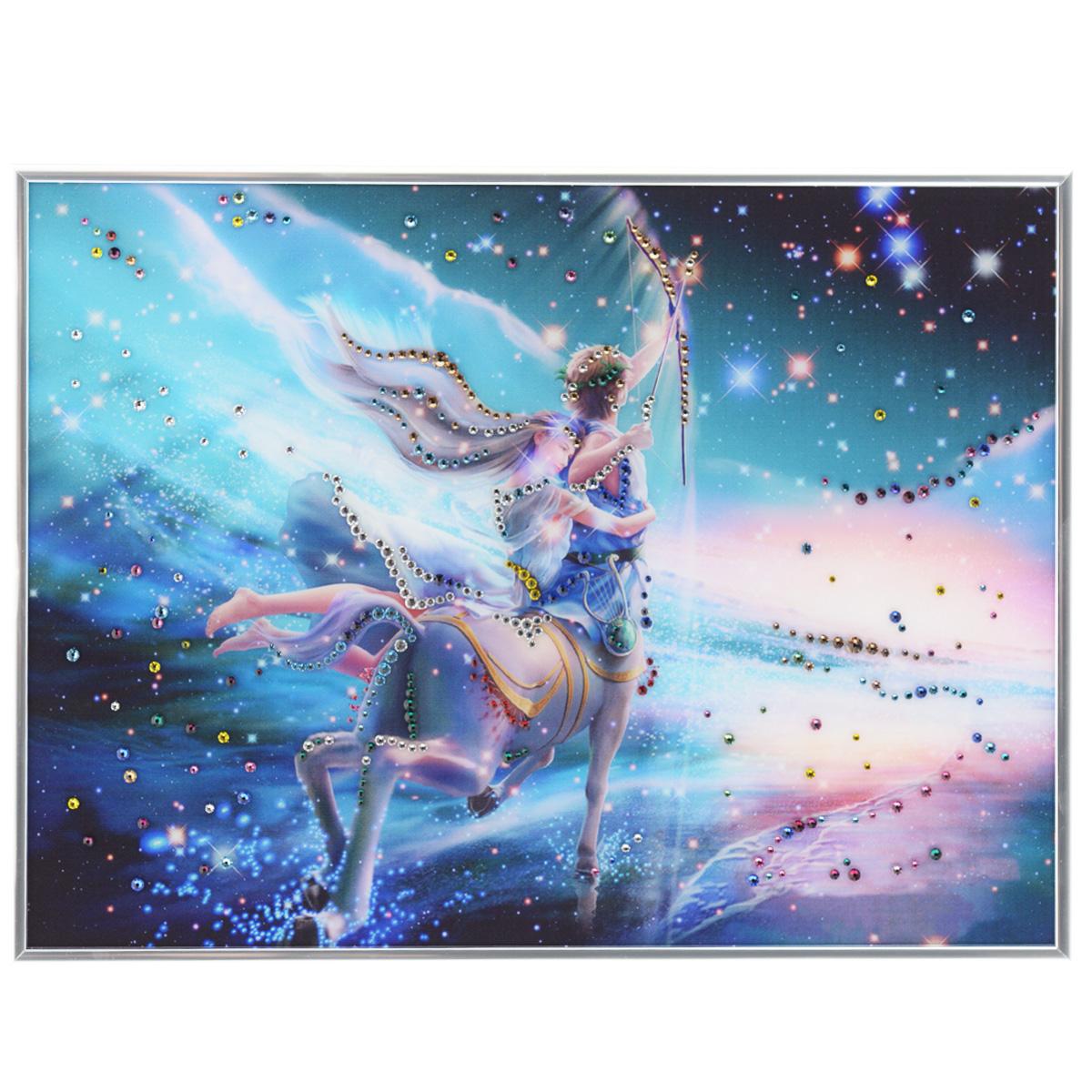Картина с кристаллами Swarovski Знак зодиака. Стрелец Кагая, 40 см х 30 см1149Изящная картина в металлической раме, инкрустирована кристаллами Swarovski, которые отличаются четкой и ровной огранкой, ярким блеском и чистотой цвета. Красочное изображение знака зодиака - стрелец Кагая, расположенное под стеклом, прекрасно дополняет блеск кристаллов. С обратной стороны имеется металлическая петелька для размещения картины на стене. Картина с кристаллами Swarovski Знак зодиака. Стрелец Кагая элегантно украсит интерьер дома или офиса, а также станет прекрасным подарком, который обязательно понравится получателю. Блеск кристаллов в интерьере, что может быть сказочнее и удивительнее. Картина упакована в подарочную картонную коробку синего цвета и комплектуется сертификатом соответствия Swarovski.