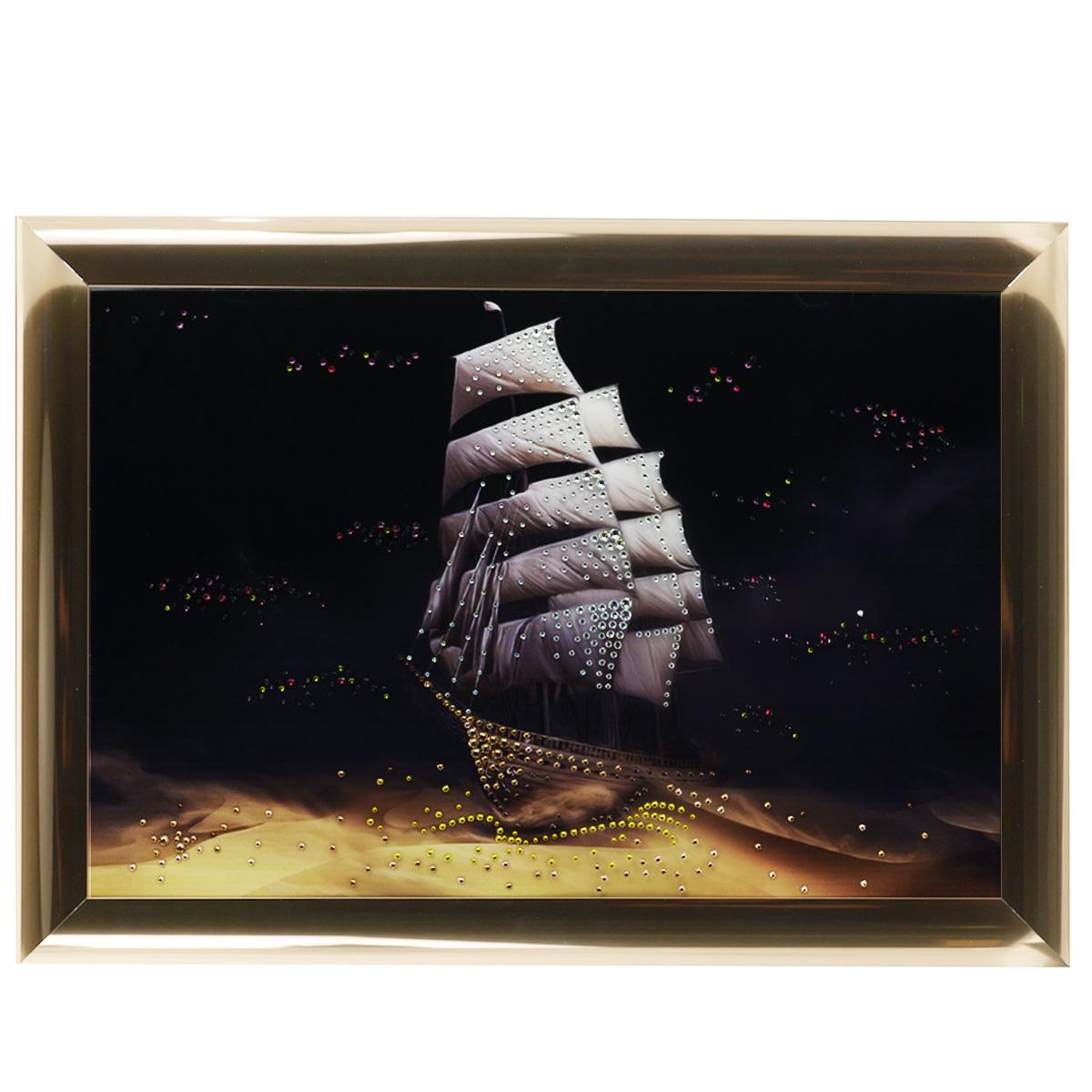 Картина с кристаллами Swarovski Корабль пустыни, 67 х 47 см1180Изящная картина в багетной раме, инкрустирована кристаллами Swarovski, которые отличаются четкой и ровной огранкой, ярким блеском и чистотой цвета. Красочное изображение корабля в пустыни, расположенное на внутренней стороне стекла, прекрасно дополняет блеск кристаллов. С обратной стороны имеется металлическая проволока для размещения картины на стене. Картина с кристаллами Swarovski Корабль пустыни элегантно украсит интерьер дома или офиса, а также станет прекрасным подарком, который обязательно понравится получателю. Блеск кристаллов в интерьере, что может быть сказочнее и удивительнее. Картина упакована в подарочную картонную коробку синего цвета и комплектуется сертификатом соответствия Swarovski.