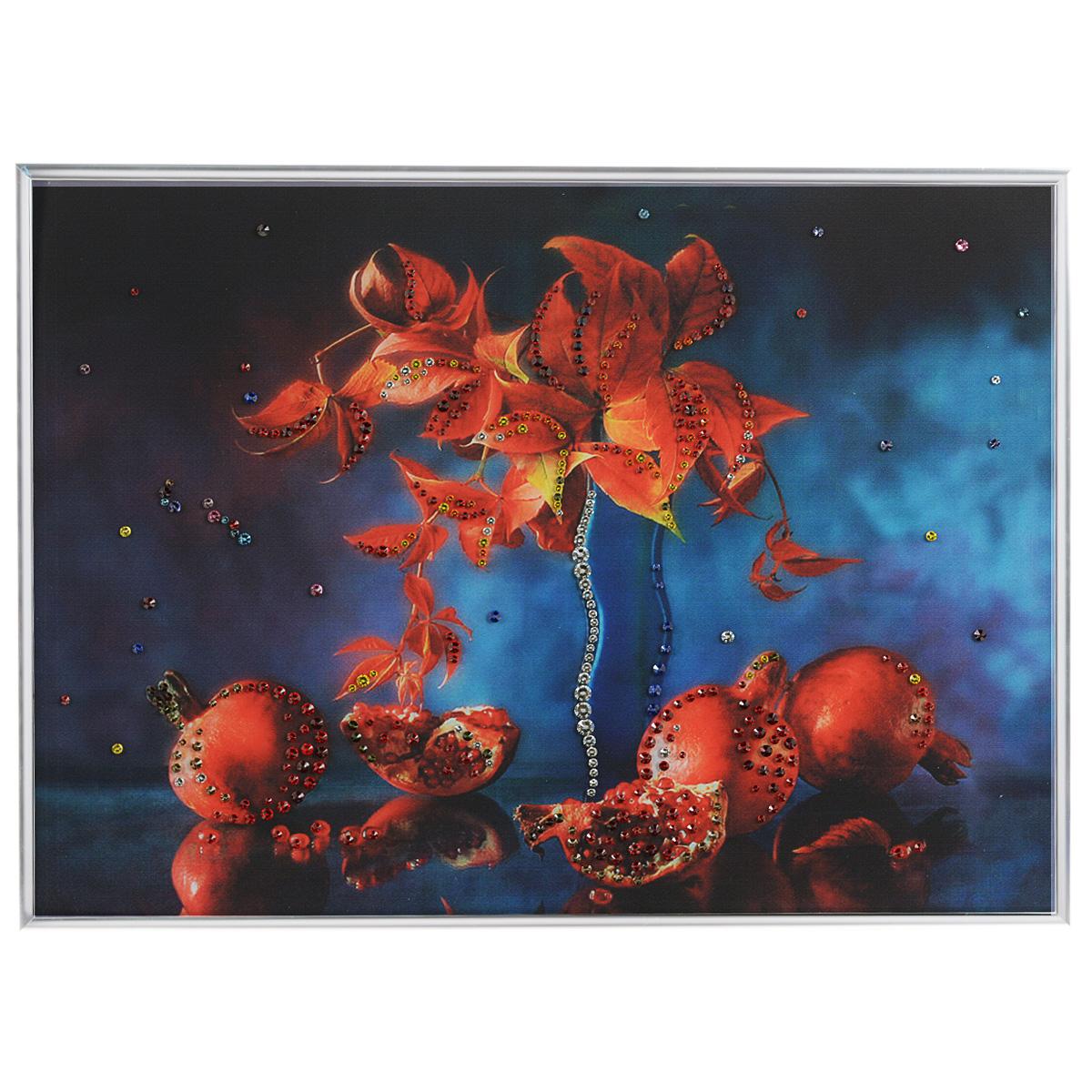 Картина с кристаллами Swarovski Натюрморт гранат, 40 см х 30 см1223Изящная картина в металлической раме, инкрустирована кристаллами Swarovski, которые отличаются четкой и ровной огранкой, ярким блеском и чистотой цвета. Красочное изображение граната, расположенное под стеклом, прекрасно дополняет блеск кристаллов. С обратной стороны имеется металлическая петелька для размещения картины на стене. Картина с кристаллами Swarovski Натюрморт гранат элегантно украсит интерьер дома или офиса, а также станет прекрасным подарком, который обязательно понравится получателю. Блеск кристаллов в интерьере, что может быть сказочнее и удивительнее. Картина упакована в подарочную картонную коробку синего цвета и комплектуется сертификатом соответствия Swarovski.