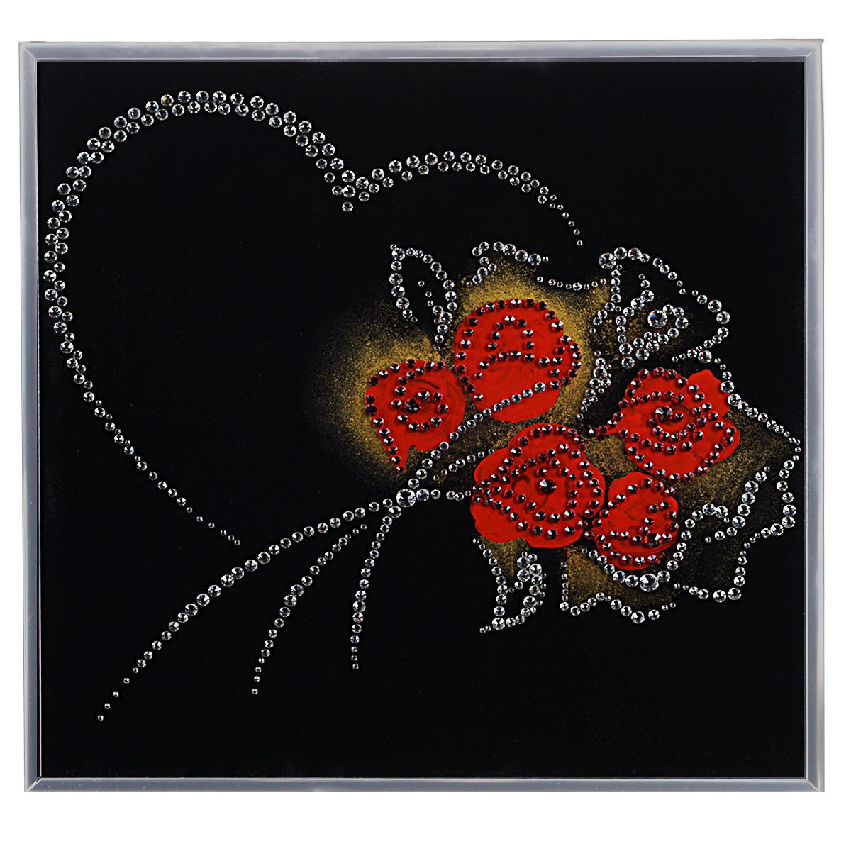 Картина с кристаллами Swarovski От всего сердца, 30 см х 30 см1236Изящная картина в алюминиевой раме От всего сердца инкрустирована кристаллами Swarovski, которые отличаются четкой и ровной огранкой, ярким блеском и чистотой цвета. Идеально подобранная палитра кристаллов прекрасно дополняет картину. С задней стороны изделие оснащено специальной металлической петелькой для размещения на стене. Картина с кристаллами Swarovski элегантно украсит интерьер дома, а также станет прекрасным подарком, который обязательно понравится получателю. Блеск кристаллов в интерьере - что может быть сказочнее и удивительнее. Изделие упаковано в подарочную картонную коробку синего цвета и комплектуется сертификатом соответствия Swarovski.