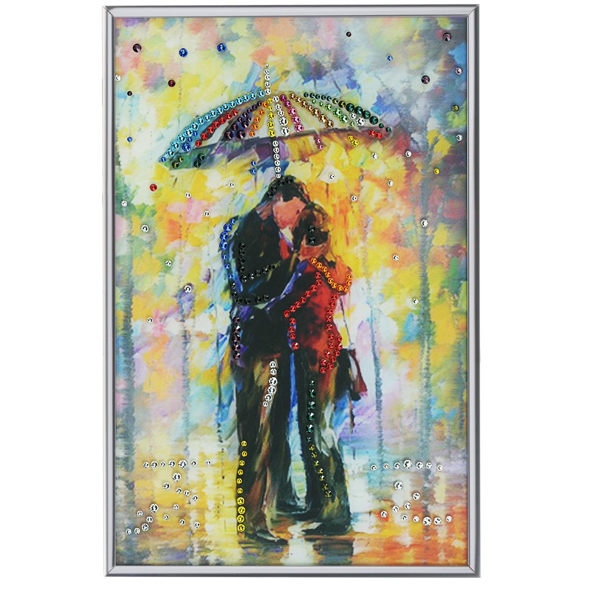 Картина с кристаллами Swarovski Под зонтом, 20 см х 30 см1243Изящная картина в алюминиевой раме Под зонтом инкрустирована кристаллами Swarovski, которые отличаются четкой и ровной огранкой, ярким блеском и чистотой цвета. Идеально подобранная палитра кристаллов прекрасно дополняет картину. С задней стороны изделие оснащено специальной металлической петелькой для размещения на стене. Картина с кристаллами Swarovski элегантно украсит интерьер дома, а также станет прекрасным подарком, который обязательно понравится получателю. Блеск кристаллов в интерьере - что может быть сказочнее и удивительнее. Изделие упаковано в подарочную картонную коробку синего цвета и комплектуется сертификатом соответствия Swarovski.