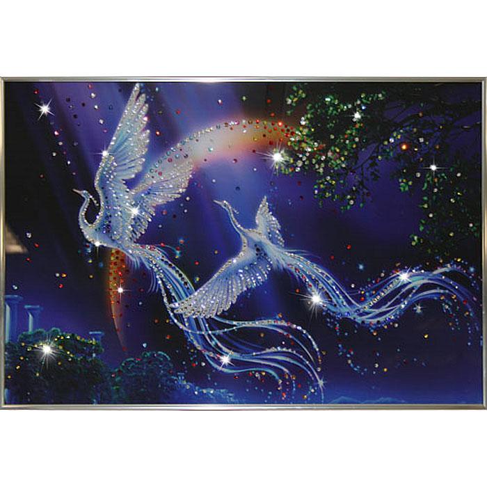 Картина с кристаллами Swarovski Райские птицы, 60 см х 40 см1254Изящная картина в металлической раме, инкрустирована кристаллами Swarovski, которые отличаются четкой и ровной огранкой, ярким блеском и чистотой цвета. Красочное изображение райских птиц, расположенное под стеклом, прекрасно дополняет блеск кристаллов. С обратной стороны имеется металлическая петелька для размещения картины на стене. Картина с кристаллами Swarovski Райские птицы элегантно украсит интерьер дома или офиса, а также станет прекрасным подарком, который обязательно понравится получателю. Блеск кристаллов в интерьере, что может быть сказочнее и удивительнее.
