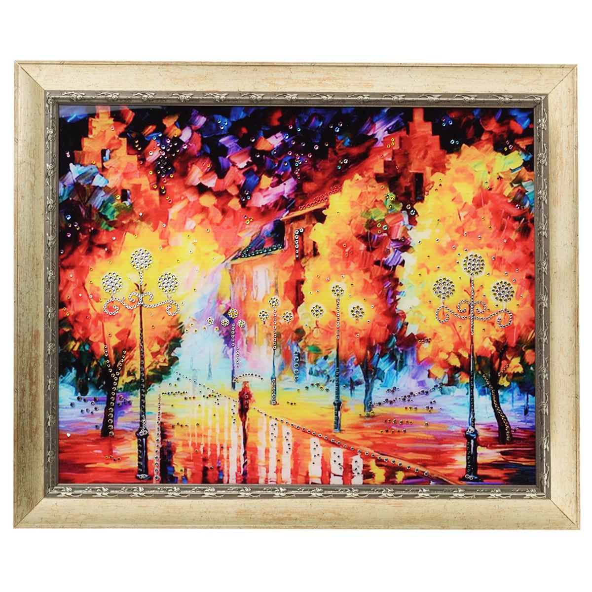 Картина с кристаллами Swarovski Фонари, 60 см х 50 см1303Изящная картина в багетной раме, инкрустирована кристаллами Swarovski, которые отличаются четкой и ровной огранкой, ярким блеском и чистотой цвета. Красочное изображение ночных фонарей, расположенное под стеклом, прекрасно дополняет блеск кристаллов. С обратной стороны имеется металлическая проволока для размещения картины на стене. Картина с кристаллами Swarovski Фонари элегантно украсит интерьер дома или офиса, а также станет прекрасным подарком, который обязательно понравится получателю. Блеск кристаллов в интерьере, что может быть сказочнее и удивительнее. Картина упакована в подарочную картонную коробку синего цвета и комплектуется сертификатом соответствия Swarovski.
