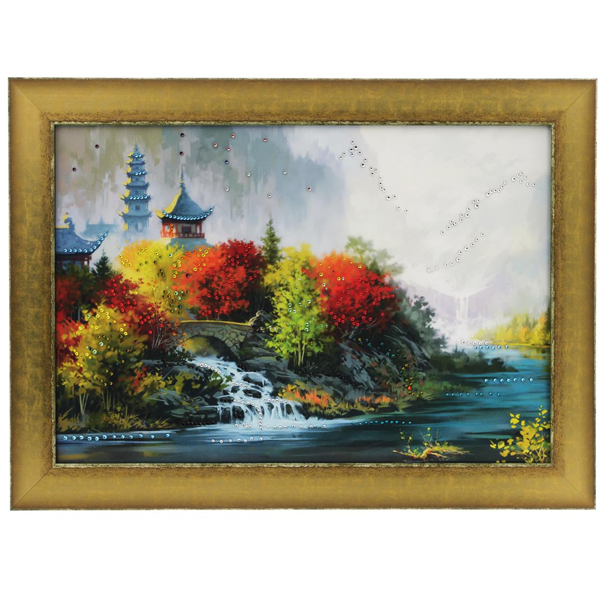 Картина с кристаллами Swarovski Восток, 70 см х 50 см1319Изящная картина в багетной раме, инкрустирована кристаллами Swarovski, которые отличаются четкой и ровной огранкой, ярким блеском и чистотой цвета. Красочное изображение восточного пейзажа, расположенное на внутренней стороне стекла, прекрасно дополняет блеск кристаллов. С обратной стороны имеется металлическая проволока для размещения картины на стене. Картина с кристаллами Swarovski Восток элегантно украсит интерьер дома или офиса, а также станет прекрасным подарком, который обязательно понравится получателю. Блеск кристаллов в интерьере, что может быть сказочнее и удивительнее. Картина упакована в подарочную картонную коробку синего цвета и комплектуется сертификатом соответствия Swarovski.
