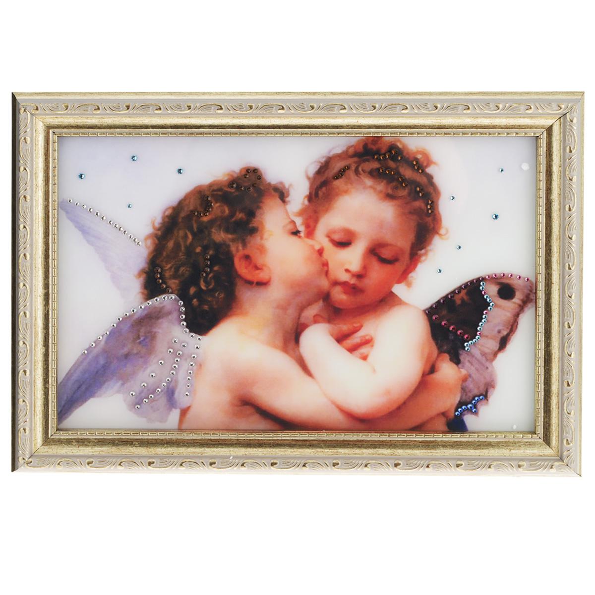 Картина с кристаллами Swarovski Поцелуй Валентина, 35 х 25 см1329Изящная картина в багетной раме, инкрустирована кристаллами Swarovski, которые отличаются четкой и ровной огранкой, ярким блеском и чистотой цвета. Красочное изображение поцелуя Валентина, расположенное под стеклом, прекрасно дополняет блеск кристаллов. С обратной стороны имеется металлическая проволока для размещения картины на стене. Картина с кристаллами Swarovski Поцелуй Валентина элегантно украсит интерьер дома или офиса, а также станет прекрасным подарком, который обязательно понравится получателю. Блеск кристаллов в интерьере, что может быть сказочнее и удивительнее. Картина упакована в подарочную картонную коробку синего цвета и комплектуется сертификатом соответствия Swarovski.