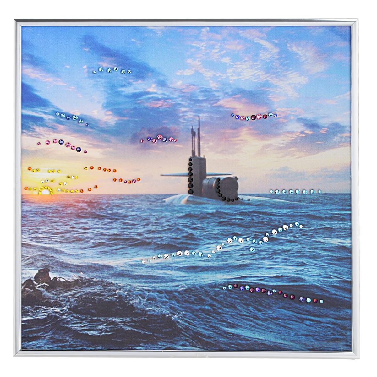 Картина с кристаллами Swarovski Подводная лодка, 30 см х 30 см1340Изящная картина в алюминиевой раме Подводная лодка инкрустирована кристаллами Swarovski, которые отличаются четкой и ровной огранкой, ярким блеском и чистотой цвета. Идеально подобранная палитра кристаллов прекрасно дополняет картину. С задней стороны изделие оснащено специальной металлической петелькой для размещения на стене. Картина с кристаллами Swarovski элегантно украсит интерьер дома, а также станет прекрасным подарком, который обязательно понравится получателю. Блеск кристаллов в интерьере - что может быть сказочнее и удивительнее. Изделие упаковано в подарочную картонную коробку синего цвета и комплектуется сертификатом соответствия Swarovski.