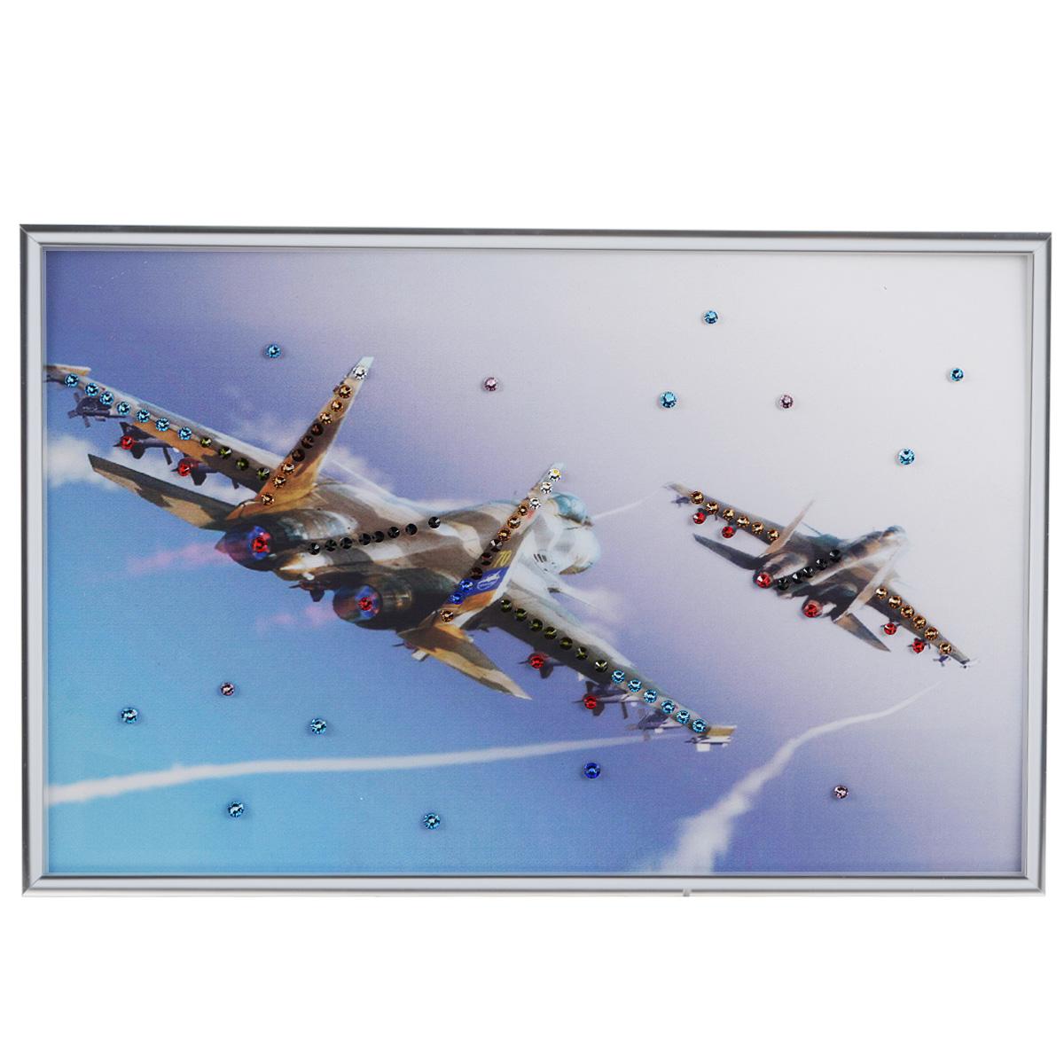 Картина с кристаллами Swarovski Полет, 30 см х 20 см1342Изящная картина в металлической раме, инкрустирована кристаллами Swarovski, которые отличаются четкой и ровной огранкой, ярким блеском и чистотой цвета. Красочное изображение двух самолетов, расположенное под стеклом, прекрасно дополняет блеск кристаллов. С обратной стороны имеется металлическая петелька для размещения картины на стене. Картина с кристаллами Swarovski Полет элегантно украсит интерьер дома или офиса, а также станет прекрасным подарком, который обязательно понравится получателю. Блеск кристаллов в интерьере, что может быть сказочнее и удивительнее. Картина упакована в подарочную картонную коробку синего цвета и комплектуется сертификатом соответствия Swarovski.