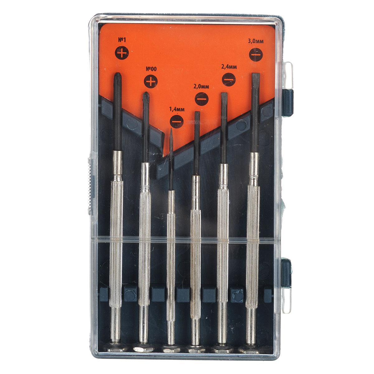 Набор отверток для точной механики Sparta, 6 шт133445Набор отверток Sparta предназначен для ремонта и обслуживания портативных электронных приборов и техники. Отвертки изготовлены из высококачественной стали. Состав набора: Отвертки крестовые: 1,4 мм, 2 мм, 2,4 мм, 3 мм. Отвертки крестовые: PH00, PH1. Пластиковый футляр для переноски и хранения.