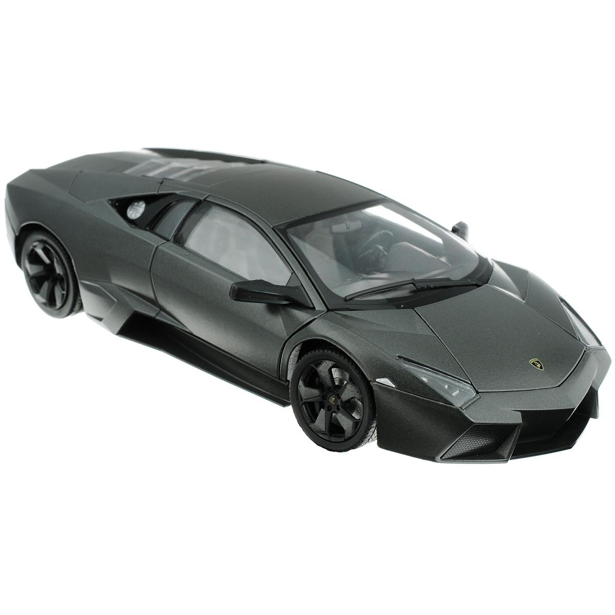 MotorMax Модель автомобиля Lamborghini Reventon79155Коллекционная модель MotorMax Автомобиль Lamborghini Reventon для тех, кто любит роскошь и высокие скорости. Игрушка представляет собой копию одноименной машины фирмы Lamborghini. Машинка будет долго служить своему владельцу благодаря цельнометаллическому корпусу, отлитому из металла с элементами из пластика. Двери машины, капот и багажник открываются. При повороте руля изменяют свое направление колеса. Приятным бонусом станут шины из настоящей резины, обеспечивающие отличное сцепление с любой поверхностью пола. Модель помещена на пластиковую подставку с оригинальным названием машины. Ваш ребенок будет в восторге от такого подарка!