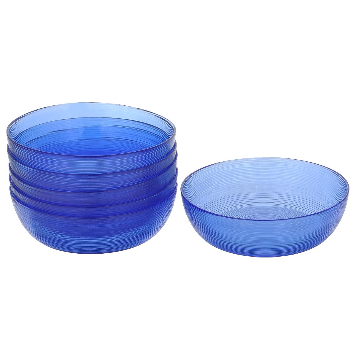 Набор салатников, цвет: синий, диаметр 13 см, 6 шт. Кт 1301213012Набор салатников, выполненный из стекла, будет уместен на любой кухне и понравится каждой хозяйке. В набор входят шесть салатников. Внешняя сторона салатника имеет рельефную поверхность. Изделия сочетают в себе изысканный дизайн с максимальной функциональностью. Такой набор салатников придется по вкусу и ценителям классики, и тем, кто предпочитает утонченность и изящность.