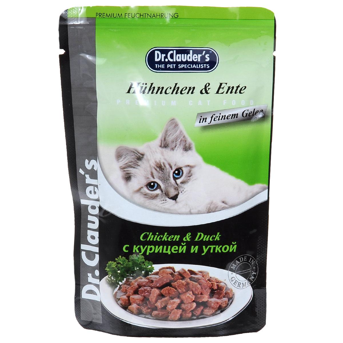 Консервы для кошек Dr. Clauders, мясные кусочки в соусе с курицей и уткой, 100 г14153Консервы для кошек Dr. Clauders с курицей и уткой - лишь один продукт из линейки влажных кормов для кошек. Консервированное блюдо, состоящее из мяса птицы, субпродуктов и круп, определенно понравится вашей любимице. Его нежная консистенция, тонкий аромат, вкусовые характеристики не оставили равнодушными уже тысячи российских мурлык. В этих консервах содержится огромное количество компонентов, которые благотворно влияют на организм вашей питомицы - витамины, минералы и биологически активные вещества. После регулярного употребления кормов от Dr. Clauders ваша кошка будет радовать вас отменным здоровьем, шикарным внешним видом и отличным настроением. Состав: мясо и мясные продукты (курица мин. 5%, утка мин. 5%), злаки, минералы, инулин (0,1%). Питательные вещества: влажность 82%, протеин 7,5%, жир 4,5%, зола 2,5%, клетчатка 0,3%. Витамины на кг: D3 - 250 ME, витамин Е - 15 мг, медь - 1,0 мг, марганец - 1,0 мг, биотин - 20 мкг, цинк - 15 мг. Товар...