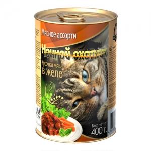 Консервы для взрослых кошек Ночной охотник , с мясным ассорти в желе, 400 г17157Консервы для взрослых кошек Ночной охотник  с мясным ассорти в желе - полноценное сбалансированное питание для взрослых кошек. Корм изготовлен из натурального мяса, без содержания сои, консервантов и ГМО продуктов. В состав корма входят питательные вещества, белки, минеральные вещества, витамины, таурин и другие компоненты, необходимые кошке для ежедневного питания. Состав: мясо и субпродукты животного происхождения (говядина не менее 10%, телятина не менее 10%, ягненок не менее 10%, курица не менее 10%) растительное масло, злаки, минеральные вещества, таурин, витамины А, D, E. Пищевая ценность в 100 г: сырой белок - 8%, сырой жир - 3,5%, сырая клетчатка - 0,4%, кальций - 0,25%, фосфор - 0,3%, сырая зола - 2%, влажность 80%. Вес: 400 г . Энергетическая ценность: 83 ккал/100 г. Товар сертифицирован.