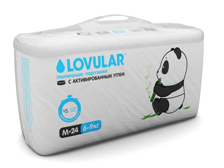 Lovular Подгузники детские, с активированным углем, M, 6-9 кг, 24 шт