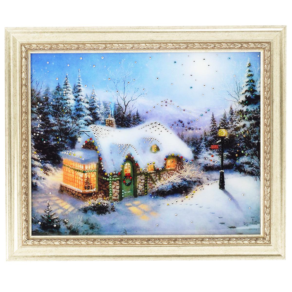 Картина с кристаллами Swarovski Рождество, 60 х 50 см1262Изящная картина в багетной раме, инкрустирована кристаллами Swarovski, которые отличаются четкой и ровной огранкой, ярким блеском и чистотой цвета. Красочное изображение рождественского домика, расположенное под стеклом, прекрасно дополняет блеск кристаллов. С обратной стороны имеется металлическая проволока для размещения картины на стене. Картина с кристаллами Swarovski Рождество элегантно украсит интерьер дома или офиса, а также станет прекрасным подарком, который обязательно понравится получателю. Блеск кристаллов в интерьере, что может быть сказочнее и удивительнее. Картина упакована в подарочную картонную коробку синего цвета и комплектуется сертификатом соответствия Swarovski.