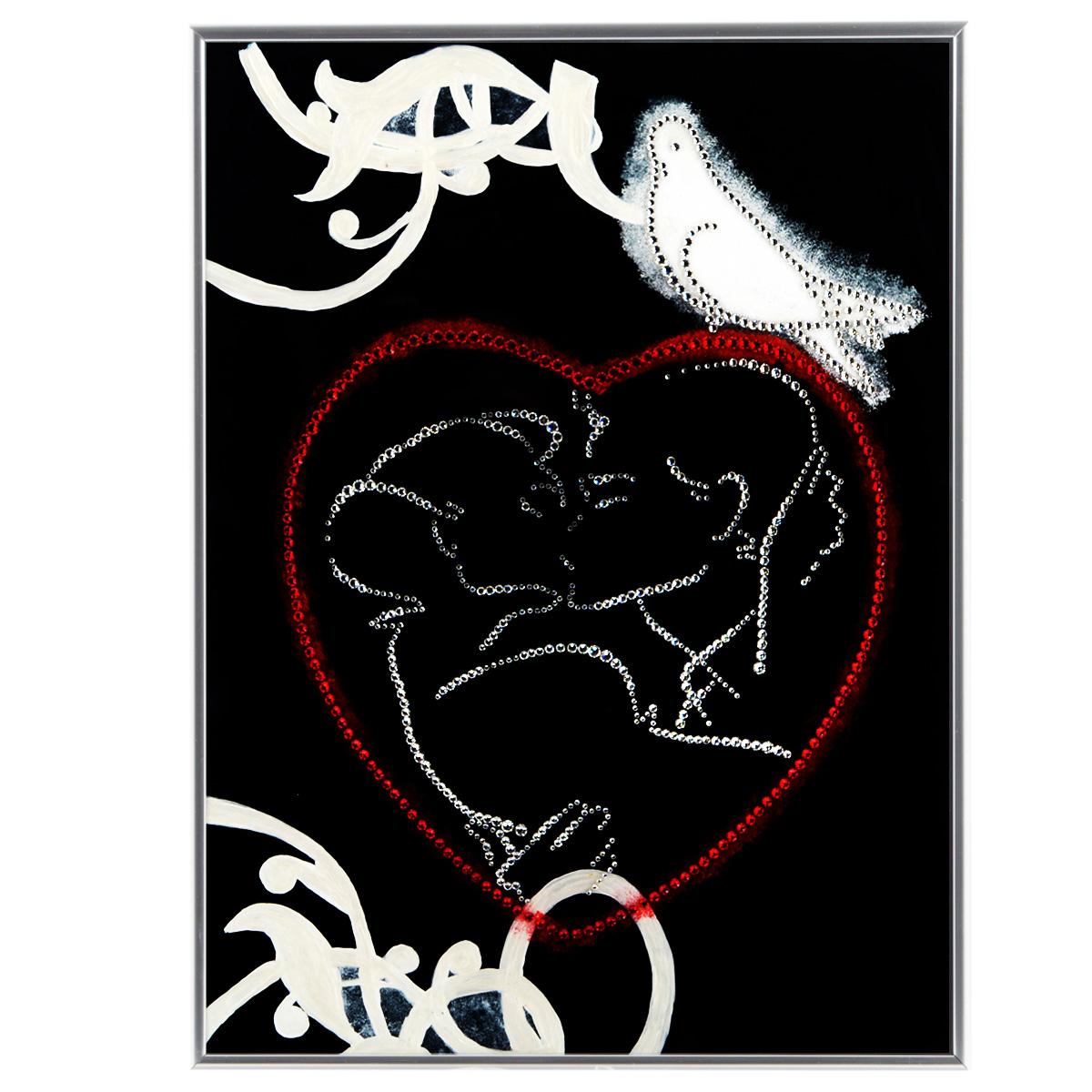 Картина с кристаллами Swarovski С любовью, 30 см х 40 см1269Изящная картина в металлической раме, инкрустирована кристаллами Swarovski в виде целующийся пары в сердце и голубя. Кристаллы Swarovski отличаются четкой и ровной огранкой, ярким блеском и чистотой цвета. Под стеклом картина оформлена бархатистой тканью, что прекрасно дополняет блеск кристаллов. С обратной стороны имеется металлическая петелька для размещения картины на стене. Картина с кристаллами Swarovski С любовью элегантно украсит интерьер дома или офиса, а также станет прекрасным подарком, который обязательно понравится получателю. Блеск кристаллов в интерьере, что может быть сказочнее и удивительнее. Картина упакована в подарочную картонную коробку синего цвета и комплектуется сертификатом соответствия Swarovski.