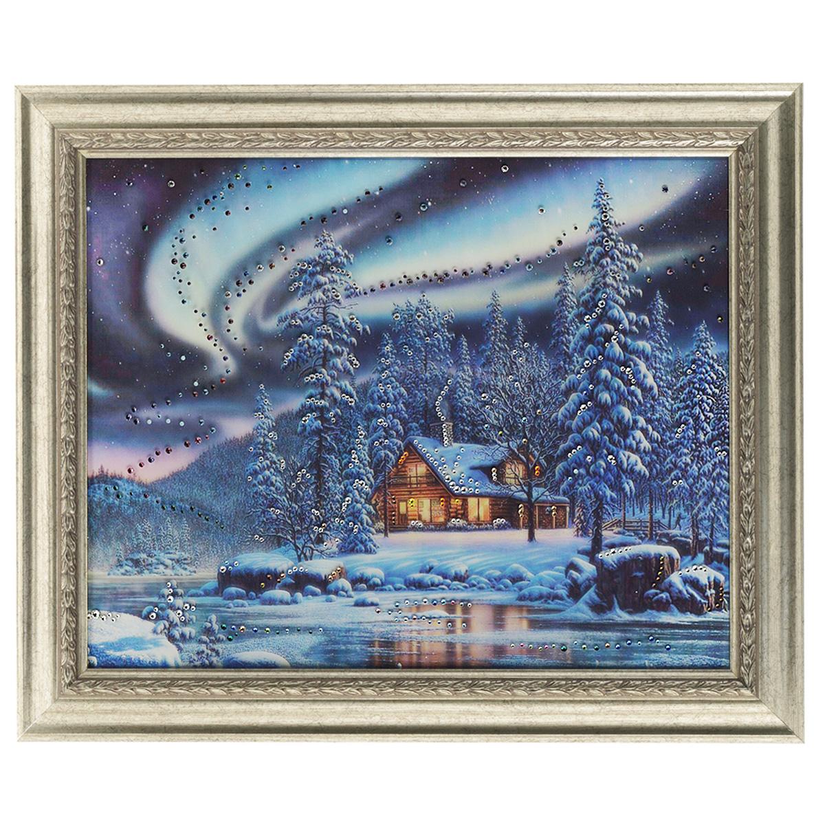 Картина с кристаллами Swarovski Северное сияние, 60 см х 50 см1274Изящная картина в багетной раме, инкрустирована кристаллами Swarovski, которые отличаются четкой и ровной огранкой, ярким блеском и чистотой цвета. Красочное изображение домика и северного сияния, расположенное на внутренней стороне стекла, прекрасно дополняет блеск кристаллов. С обратной стороны имеется металлическая проволока для размещения картины на стене. Картина с кристаллами Swarovski Северное сияние элегантно украсит интерьер дома или офиса, а также станет прекрасным подарком, который обязательно понравится получателю. Блеск кристаллов в интерьере, что может быть сказочнее и удивительнее. Картина упакована в подарочную картонную коробку синего цвета и комплектуется сертификатом соответствия Swarovski.