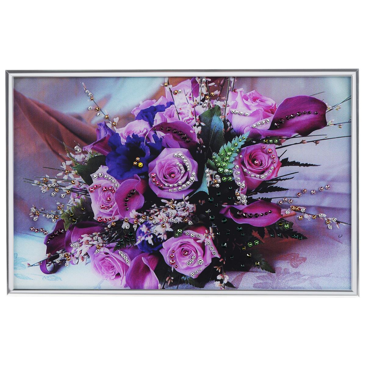 Картина с кристаллами Swarovski Розовые розы, 30 х 20 см1391Изящная картина в металлической раме, инкрустирована кристаллами Swarovski, которые отличаются четкой и ровной огранкой, ярким блеском и чистотой цвета. Красочное изображение букета роз, расположенное под стеклом, прекрасно дополняет блеск кристаллов. С обратной стороны имеется металлическая петелька для размещения картины на стене. Картина с кристаллами Swarovski Розовые розы элегантно украсит интерьер дома или офиса, а также станет прекрасным подарком, который обязательно понравится получателю. Блеск кристаллов в интерьере, что может быть сказочнее и удивительнее. Картина упакована в подарочную картонную коробку синего цвета и комплектуется сертификатом соответствия Swarovski.