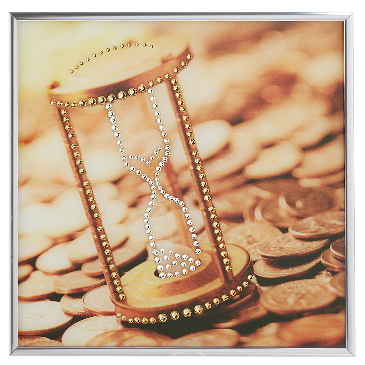 Картина с кристаллами Swarovski Время деньги, 25 х 25 см1395Изящная картина в металлической раме, инкрустирована кристаллами Swarovski, которые отличаются четкой и ровной огранкой, ярким блеском и чистотой цвета. Красочное изображение песочных часов и монет, расположенное под стеклом, прекрасно дополняет блеск кристаллов. С обратной стороны имеется металлическая петелька для размещения картины на стене. Картина с кристаллами Swarovski Время деньги элегантно украсит интерьер дома или офиса, а также станет прекрасным подарком, который обязательно понравится получателю. Блеск кристаллов в интерьере, что может быть сказочнее и удивительнее. Картина упакована в подарочную картонную коробку синего цвета и комплектуется сертификатом соответствия Swarovski.