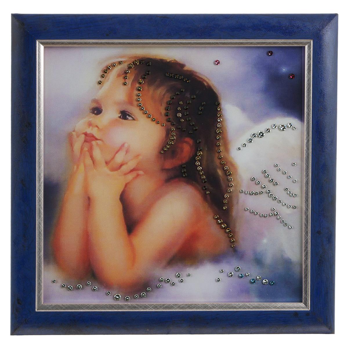 Картина с кристаллами Swarovski Ты мой ангел, 30 см х 30 см1396Изящная картина в раме Ты мой ангел инкрустирована кристаллами Swarovski, которые отличаются четкой и ровной огранкой, ярким блеском и чистотой цвета. Идеально подобранная палитра кристаллов прекрасно дополняет картину. С задней стороны изделие оснащено специальной проволокой для размещения на стене. Картина с кристаллами Swarovski элегантно украсит интерьер дома, а также станет прекрасным подарком, который обязательно понравится получателю. Блеск кристаллов в интерьере - что может быть сказочнее и удивительнее. Изделие упаковано в подарочную картонную коробку синего цвета и комплектуется сертификатом соответствия Swarovski.