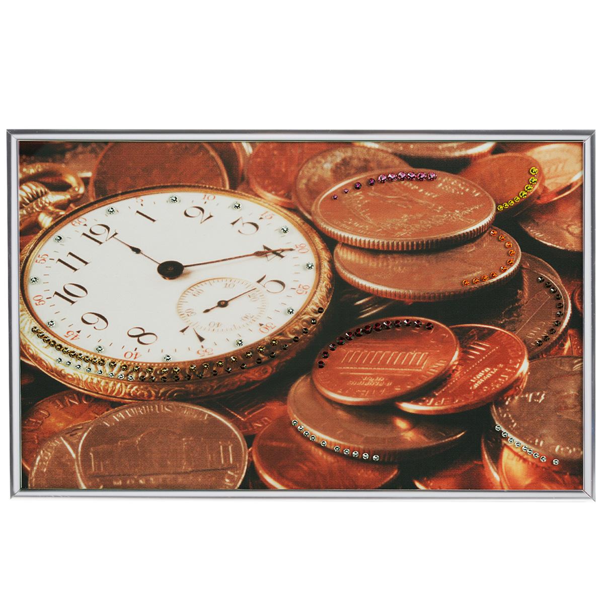 Картина с кристаллами Swarovski Время деньги, 30 см х 20 см1405Изящная картина в металлической раме, инкрустирована кристаллами Swarovski, которые отличаются четкой и ровной огранкой, ярким блеском и чистотой цвета. Красочное изображение часов и монет, расположенное под стеклом, прекрасно дополняет блеск кристаллов. С обратной стороны имеется металлическая петелька для размещения картины на стене. Картина с кристаллами Swarovski Время деньги элегантно украсит интерьер дома или офиса, а также станет прекрасным подарком, который обязательно понравится получателю. Блеск кристаллов в интерьере, что может быть сказочнее и удивительнее. Картина упакована в подарочную картонную коробку синего цвета и комплектуется сертификатом соответствия Swarovski.