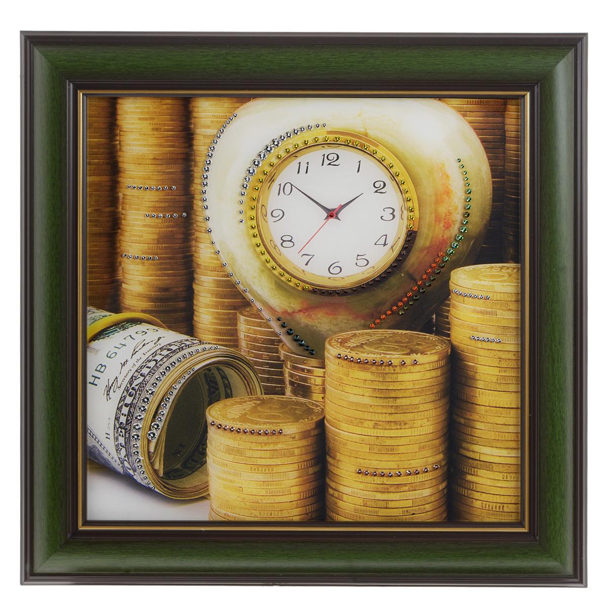 Картина с кристаллами Swarovski Время - деньги 3, 38 х 38 см1406Изящная картина в багетной раме Время - деньги 3 инкрустирована кристаллами Swarovski, которые отличаются четкой и ровной огранкой, ярким блеском и чистотой цвета. Идеально подобранная палитра кристаллов прекрасно дополняет картину. С задней стороны изделие оснащено проволокой для размещения на стене. Картина с кристаллами Swarovski элегантно украсит интерьер дома, а также станет прекрасным подарком, который обязательно понравится получателю. Блеск кристаллов в интерьере - что может быть сказочнее и удивительнее. Изделие упаковано в подарочную картонную коробку синего цвета и комплектуется сертификатом соответствия Swarovski.