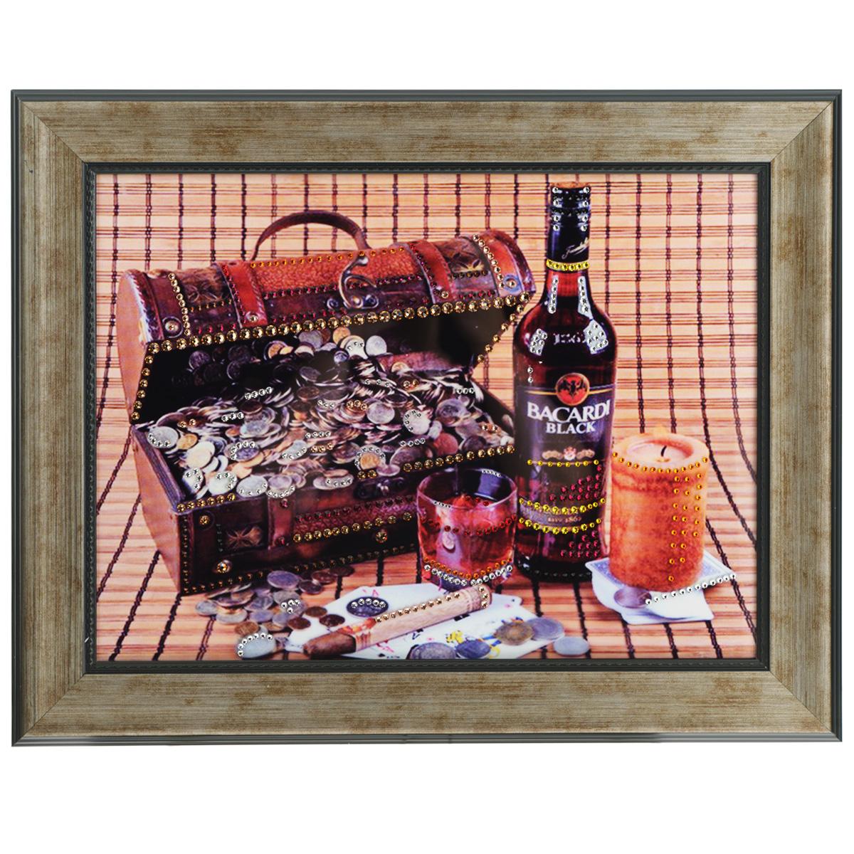 Картина с кристаллами Swarovski Мужской набор, 49 см х 39 см1407Изящная картина в багетной раме, инкрустирована кристаллами Swarovski, которые отличаются четкой и ровной огранкой, ярким блеском и чистотой цвета. Красочное изображение сундучка с деньгами, бутылки виски и сигары, расположенное под стеклом, прекрасно дополняет блеск кристаллов. С обратной стороны имеется металлическая проволока для размещения картины на стене. Картина с кристаллами Swarovski Мужской набор элегантно украсит интерьер дома или офиса, а также станет прекрасным подарком, который обязательно понравится получателю. Блеск кристаллов в интерьере, что может быть сказочнее и удивительнее. Картина упакована в подарочную картонную коробку синего цвета и комплектуется сертификатом соответствия Swarovski.