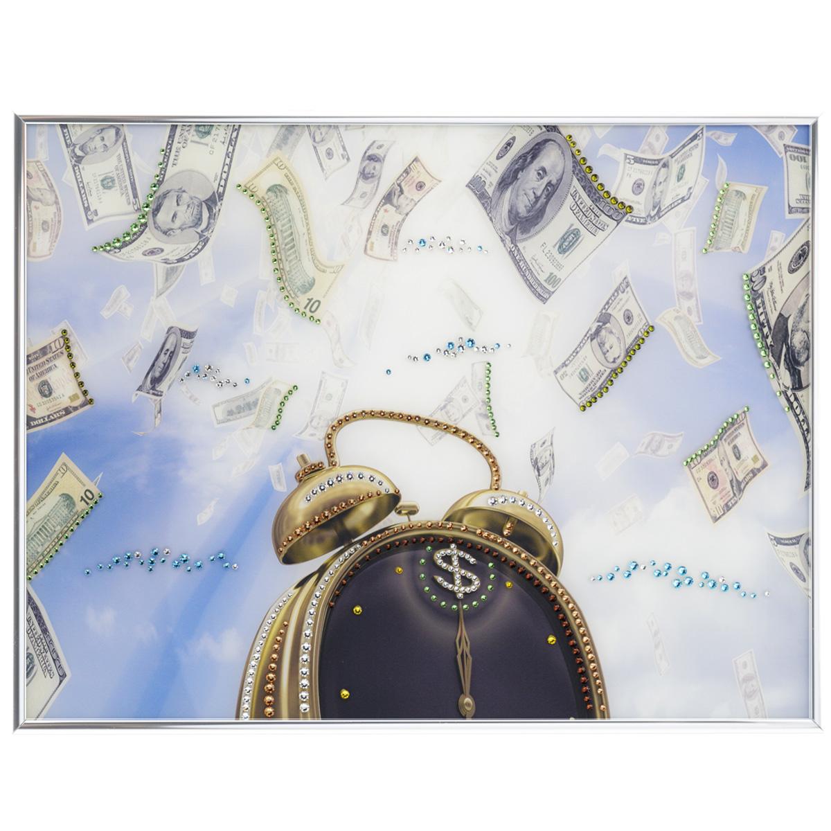 Картина с кристаллами Swarovski Время деньги, 40 х 30 см1408Изящная картина в металлической раме, инкрустирована кристаллами Swarovski, которые отличаются четкой и ровной огранкой, ярким блеском и чистотой цвета. Красочное изображение будильника и денег, расположенное под стеклом, прекрасно дополняет блеск кристаллов. С обратной стороны имеется металлическая петелька для размещения картины на стене. Картина с кристаллами Swarovski Время деньги элегантно украсит интерьер дома или офиса, а также станет прекрасным подарком, который обязательно понравится получателю. Блеск кристаллов в интерьере, что может быть сказочнее и удивительнее. Картина упакована в подарочную картонную коробку синего цвета и комплектуется сертификатом соответствия Swarovski.