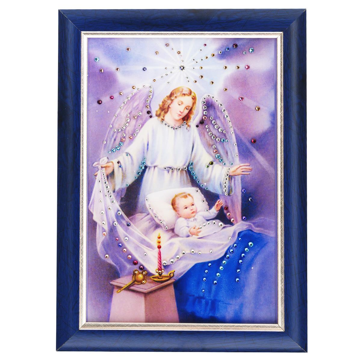 Картина с кристаллами Swarovski Ангел-защитник, 25 см х 35 см1424Изящная картина в багетной раме, инкрустирована кристаллами Swarovski, которые отличаются четкой и ровной огранкой, ярким блеском и чистотой цвета. Красочное изображение ангелочка и ребенка, расположенное под стеклом, прекрасно дополняет блеск кристаллов. С обратной стороны имеется металлическая проволока для размещения картины на стене. Картина с кристаллами Swarovski Ангел-защитник элегантно украсит интерьер дома или офиса, а также станет прекрасным подарком, который обязательно понравится получателю. Блеск кристаллов в интерьере, что может быть сказочнее и удивительнее. Картина упакована в подарочную картонную коробку синего цвета и комплектуется сертификатом соответствия Swarovski.