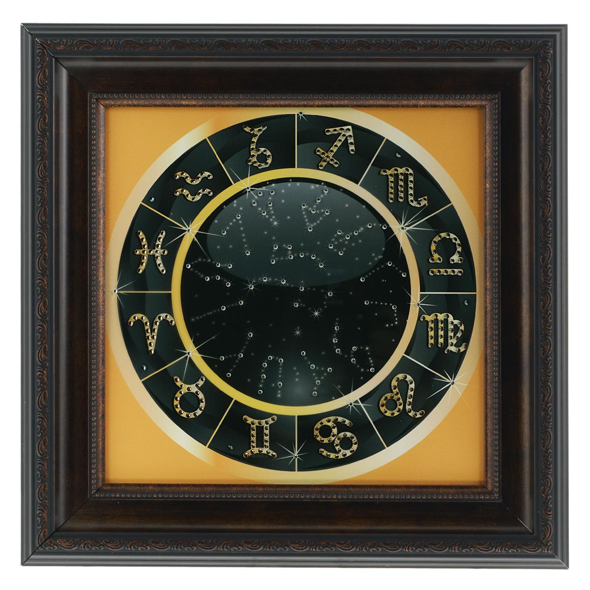 Картина с кристаллами Swarovski Знаки зодиака, 41 х 41 см1438Изящная картина в багетной раме, инкрустирована кристаллами Swarovski, которые отличаются четкой и ровной огранкой, ярким блеском и чистотой цвета. Красочное изображение знаков зодиака, расположенное под стеклом, прекрасно дополняет блеск кристаллов. С обратной стороны имеется металлическая проволока для размещения картины на стене. Картина с кристаллами Swarovski Знаки зодиака элегантно украсит интерьер дома или офиса, а также станет прекрасным подарком, который обязательно понравится получателю. Блеск кристаллов в интерьере, что может быть сказочнее и удивительнее. Картина упакована в подарочную картонную коробку синего цвета и комплектуется сертификатом соответствия Swarovski.