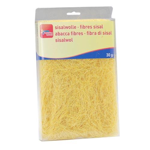 Сизаль Hobby Time, цвет: желтый (67), 30 г7705267Сизаль Hobby Time является необыкновенным аксессуаром для флористики и упаковки подарков. Это тонкие, прочные волокна, которые изготовляют из листьев агавы. Сизаль окрашивается в различные цвета и затем из его волокон плетут декоративные веревки, украшают металлические каркасы для букетов, используют его в изготовлении корзин. В подарочной упаковке сизаль удачно используют в изготовлении оригинального оберточного материала. Также сизаль используют как наполнитель в коробках. Во многих флористических композициях сизаль создает легкое облако над букетом, придавая воздушность и свежесть цветам. В рождественских декорациях сизаль подчеркивает зимнее настроение коллекций. Такой материал можно комбинировать с различными аксессуарами, как с природными - веточки, шишки, скорлупа, кора, перья так и с искусственными - стразы, бисер, бусины. Уникальная токая структура волокон позволят создавать новые формы.