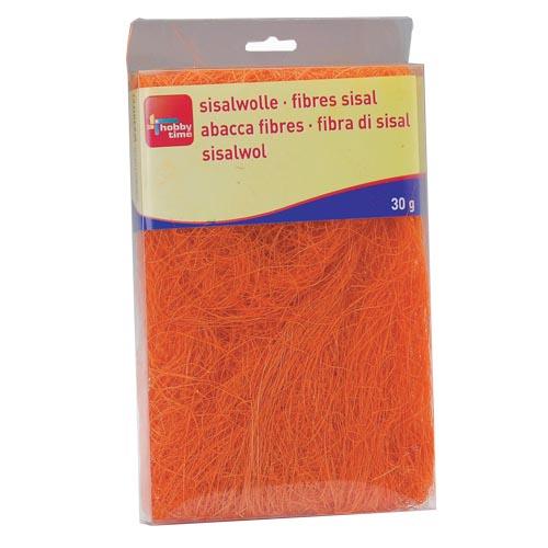 Сизаль Hobby Time, цвет: оранжевый (68), 30 г7705268Сизаль Hobby Time является необыкновенным аксессуаром для флористики и упаковки подарков. Это тонкие, прочные волокна, которые изготовляют из листьев агавы. Сизаль окрашивается в различные цвета и затем из его волокон плетут декоративные веревки, украшают металлические каркасы для букетов, используют его в изготовлении корзин. В подарочной упаковке сизаль удачно используют в изготовлении оригинального оберточного материала. Также сизаль используют как наполнитель в коробках. Во многих флористических композициях сизаль создает легкое облако над букетом, придавая воздушность и свежесть цветам. В рождественских декорациях сизаль подчеркивает зимнее настроение коллекций. Такой материал можно комбинировать с различными аксессуарами, как с природными - веточки, шишки, скорлупа, кора, перья так и с искусственными - стразы, бисер, бусины. Уникальная токая структура волокон позволят создавать новые формы.