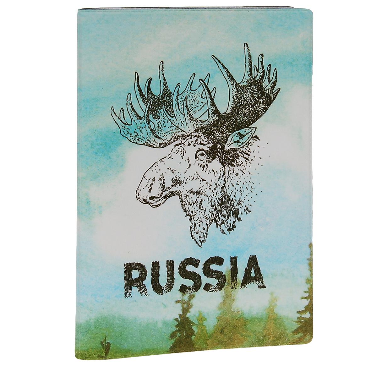 Обложка для паспорта Лось. OZAM300OZAM300Обложка для паспорта Mitya Veselkov Лось выполнена из прочного ПВХ и оформлена изображением головы лося и надписью Russia. Такая обложка не только поможет сохранить внешний вид ваших документов и защитит их от повреждений, но и станет стильным аксессуаром, идеально подходящим вашему образу. Яркая и оригинальная обложка подчеркнет вашу индивидуальность и изысканный вкус. Обложка для паспорта стильного дизайна может быть достойным и оригинальным подарком.