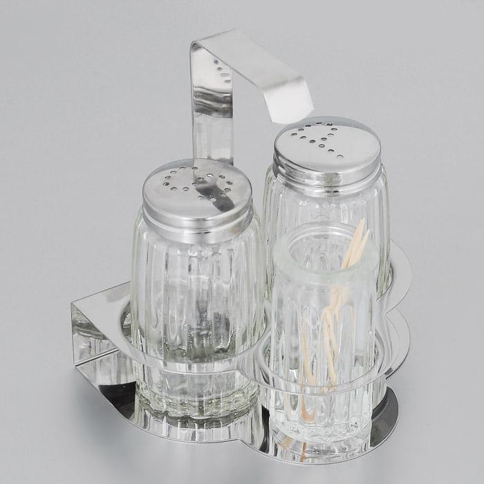 Набор диспенсеров для соли и перца Fackelmann, 4 предмета47323Набор Fackelmann состоит из двух диспенсеров для соли и перца, емкости для зубочисток и подставки. Диспенсеры и емкость для зубочисток выполнены из стекла с граненой поверхностью. Диспенсеры оснащены крышками из нержавеющей стали. Их легко заполнить, достаточно открутить крышку и насыпать внутрь соль или перец. Подставка выполнена из нержавеющей стали. Набор для соли и перца Fackelmann изысканно украсит кухонный стол и станет незаменимым аксессуаром на вашей кухне. Можно мыть в посудомоечной машине. Высота диспенсера: 7 см. Высота емкости для зубочисток: 6 см. Размер подставки: 10 см х 8 см х 10 см.