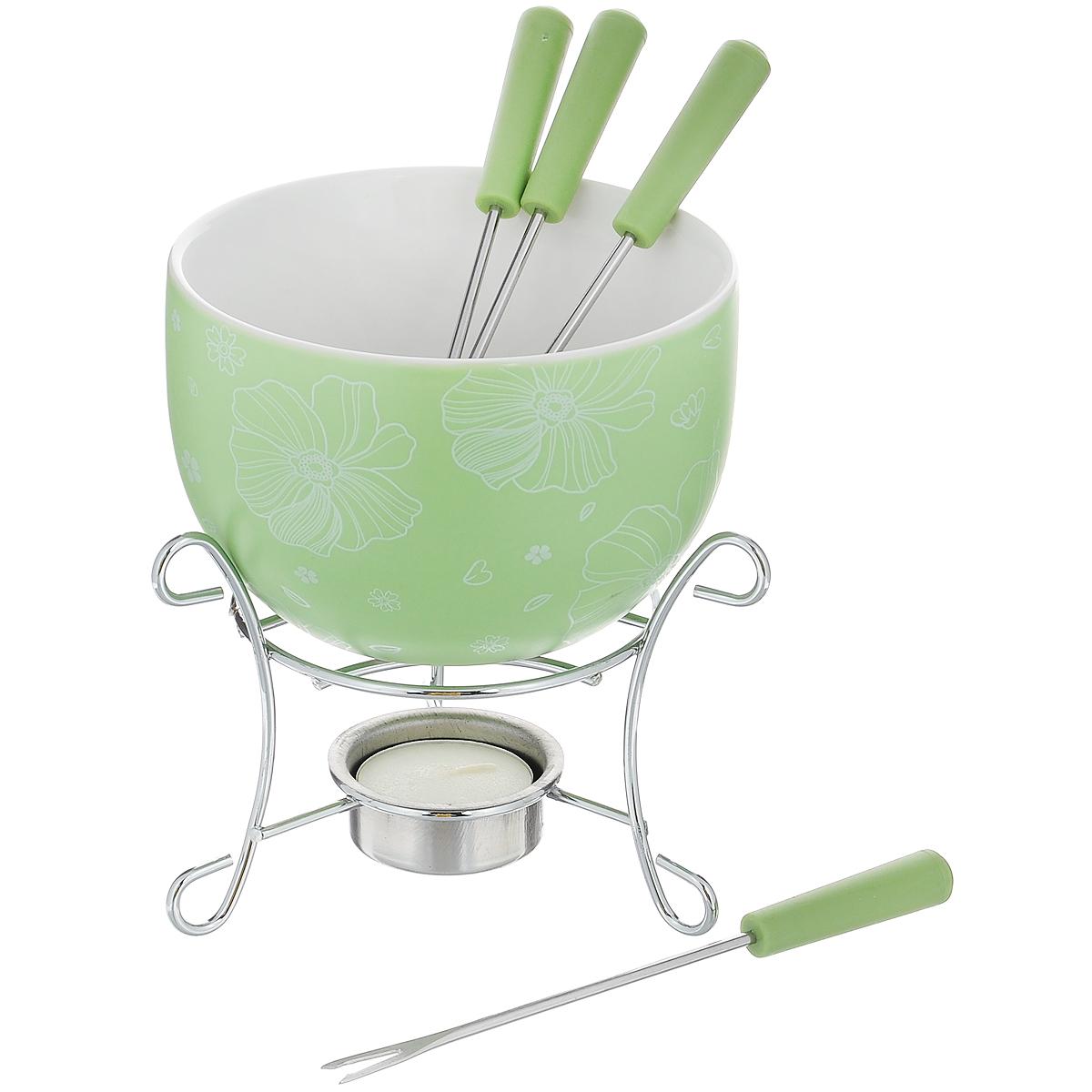 Набор для фондю Fissman Mini, цвет: зеленый, 8 предметовFD-6.307.6Набор для фондю Fissman Mini состоит из чаши, подставки с подсвечником и 4 вилочек. Чаша изготовлена из глазурованной керамики и декорирована цветочным рисунком. В центре подставки устанавливается свеча-таблетка (входит в комплект), сверху ставится чаша. В наборе имеется 4 вилочки с пластиковыми ручками. В чашечке растапливается шоколад, на вилочки насаживается зефир или фрукты - и вот нехитрый, но очень привлекательный способ украсить вечер в компании самых дорогих и любимых. Диаметр чаши (по верхнему краю): 11,5 см. Высота чаши: 7 см. Высота подставки: 8,5 см. Диаметр отверстия для свечи: 4 см. Длина вилочки: 15 см.