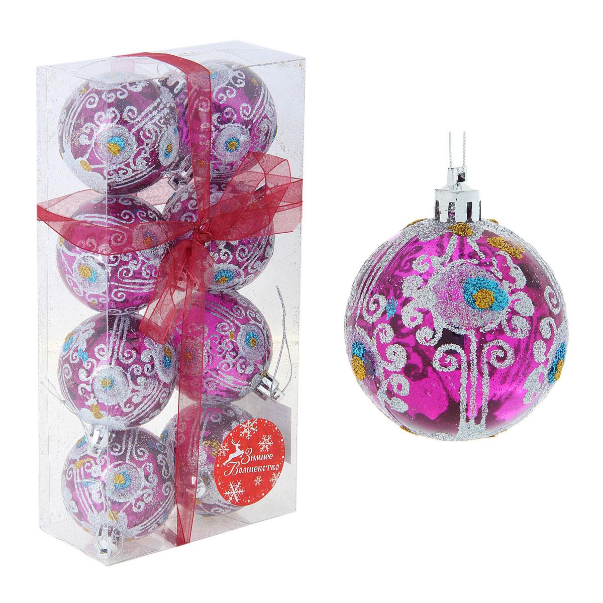 Набор новогодних подвесных украшений Sima-land Шар, диаметр 6 см, 8 шт. 334353334353Набор новогодних подвесных украшений Sima-land Шар прекрасно подойдет для праздничного декора новогодней ели. Набор состоит из 8 игрушек, выполненных из пластика и украшенных блестками и стразами. Для удобного размещения на елке для каждой игрушки предусмотрена текстильная петелька. Елочная игрушка - символ Нового года. Она несет в себе волшебство и красоту праздника. Создайте в своем доме атмосферу веселья и радости, украшая новогоднюю елку нарядными игрушками, которые будут из года в год накапливать теплоту воспоминаний. Коллекция декоративных украшений принесет в ваш дом ни с чем не сравнимое ощущение волшебства! Откройте для себя удивительный мир сказок и грез. Почувствуйте волшебные минуты ожидания праздника, создайте новогоднее настроение вашим дорогим и близким.