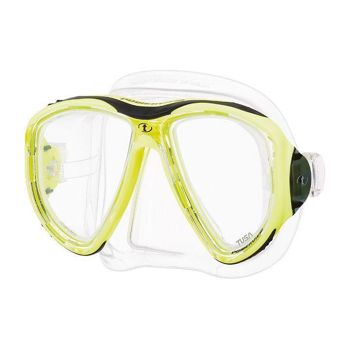 Маска для плавания Tusa Powerview, цвет: желтыйTS M-24 FYМаска M-24 Powerview обладает уникальным двухлинзовым дизайном, который обеспечивает великолепное поле обзора и исключительный комфорт. Тонкая рамка маски выполнена из композитных материалов, поэтому маска имеет меньший вес, повышенную ударопрочность, и ее удобно держать в руках. Вытянутые вниз линзы (в форме перевернутой капли) позволили увеличить обзор вниз на 30% по сравнению с обычными двухлинзовыми масками. Обтюратор маски имеет скругленные края со специальной посадкой обтюратора по линиям наилучшего прилегания к лицу.