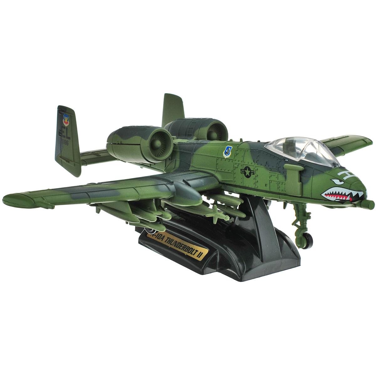 MotorMax Cамолет A10A Thunderbolt II76367Модель самолета MotorMax A10A Thunderbolt II станет хорошим подарком для ребенка, который увлекается авиацией. Она имеет отличную детализацию и является уменьшенной копией настоящего боевого американского самолета. A10A Thunderbolt II выполнен из прочных материалов, поэтому им можно играть как обычной игрушкой, не боясь сломать. Используемые компоненты экологически чистые, поэтому не навредят ни вашему ребенку, ни окружающей среде. Модель снабжена подставкой. A-10 - американский одноместный штурмовик, созданный для борьбы с бронетехникой противника и с прочими наземными целями.