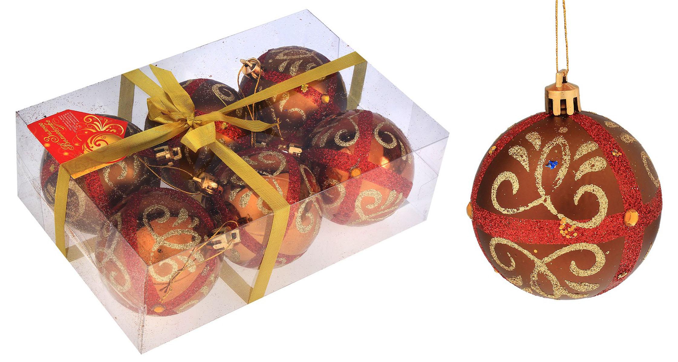 Набор новогодних подвесных украшений Sima-land Шар, цвет: коричневый, диаметр 7 см, 6 шт. 519853519853Набор новогодних подвесных украшений Sima-land Шар прекрасно подойдет для праздничного декора новогодней ели. Набор состоит из 6 игрушек, выполненных из пластика и украшенных блестками и стразами. Для удобного размещения на елке для каждой игрушки предусмотрена текстильная петелька. Елочная игрушка - символ Нового года. Она несет в себе волшебство и красоту праздника. Создайте в своем доме атмосферу веселья и радости, украшая новогоднюю елку нарядными игрушками, которые будут из года в год накапливать теплоту воспоминаний. Коллекция декоративных украшений принесет в ваш дом ни с чем не сравнимое ощущение волшебства! Откройте для себя удивительный мир сказок и грез. Почувствуйте волшебные минуты ожидания праздника, создайте новогоднее настроение вашим дорогим и близким.