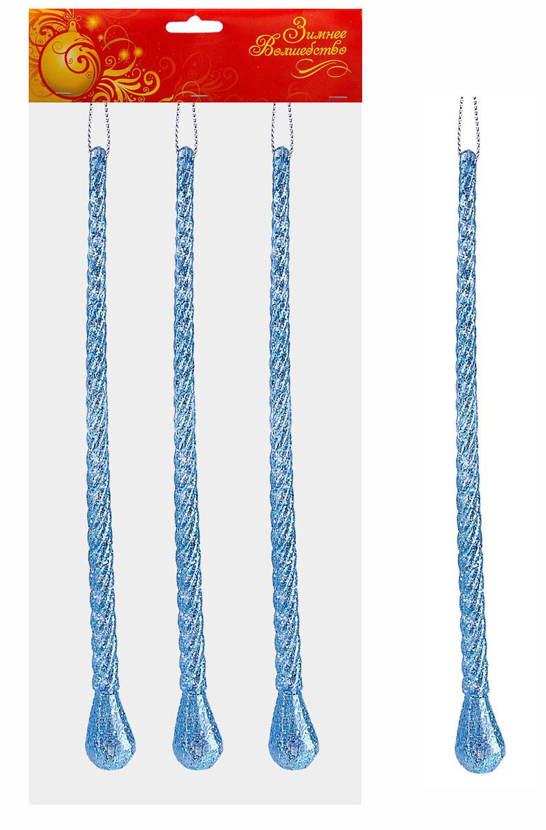 Набор новогодних подвесных украшений Sima-land Сосулька, цвет: голубой, высота 19,5 см, 3 шт538306Набор новогодних подвесных украшений Sima-land Сосулька прекрасно подойдет для праздничного декора новогодней ели. Набор состоит из 3 игрушек, выполненных из акрила в виде фигурных сосулек и украшенных блестками. Для удобного размещения на елке для каждой игрушки предусмотрена текстильная петелька. Елочная игрушка - символ Нового года. Она несет в себе волшебство и красоту праздника. Создайте в своем доме атмосферу веселья и радости, украшая новогоднюю елку нарядными игрушками, которые будут из года в год накапливать теплоту воспоминаний. Коллекция декоративных украшений принесет в ваш дом ни с чем не сравнимое ощущение волшебства! Откройте для себя удивительный мир сказок и грез. Почувствуйте волшебные минуты ожидания праздника, создайте новогоднее настроение вашим дорогим и близким.